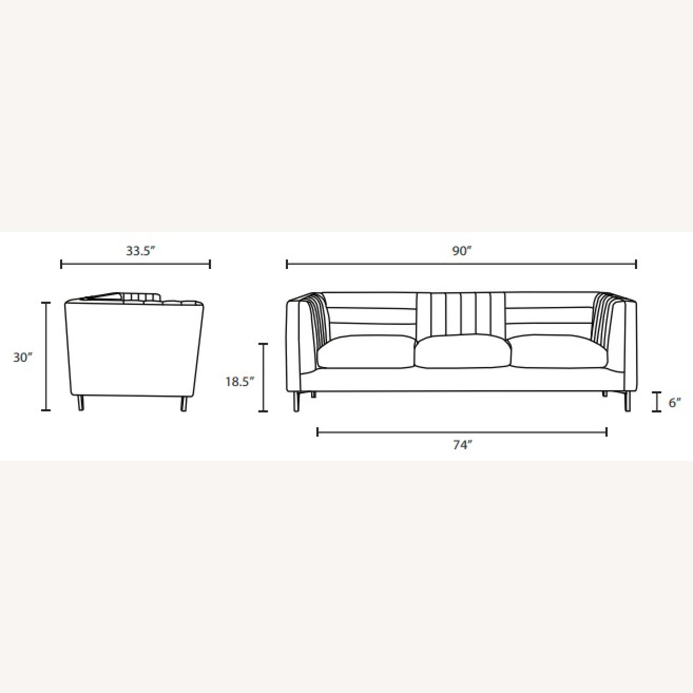 Modern Sofa In Gray Velvet W/ Channel Tufting - image-6