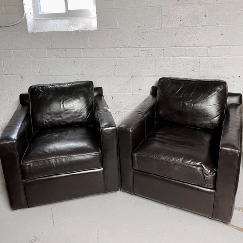 Used Restoration Hardware Rotating Leather Chairs for sale on AptDeco