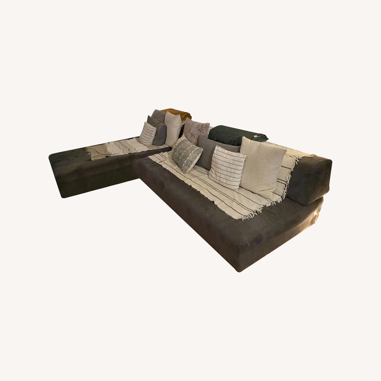 Vintage West Elm Pewter Sectional Sofa - image-0