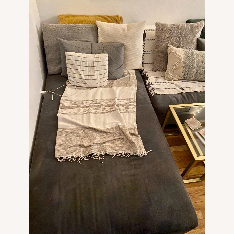 Vintage West Elm Pewter Sectional Sofa - image-3