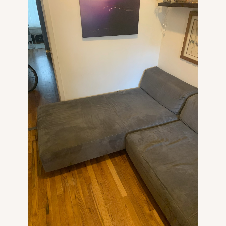 Vintage West Elm Pewter Sectional Sofa - image-5