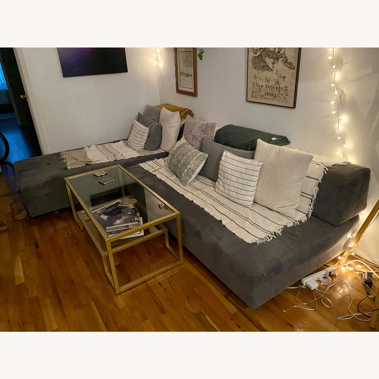 Vintage West Elm Pewter Sectional Sofa - image-1