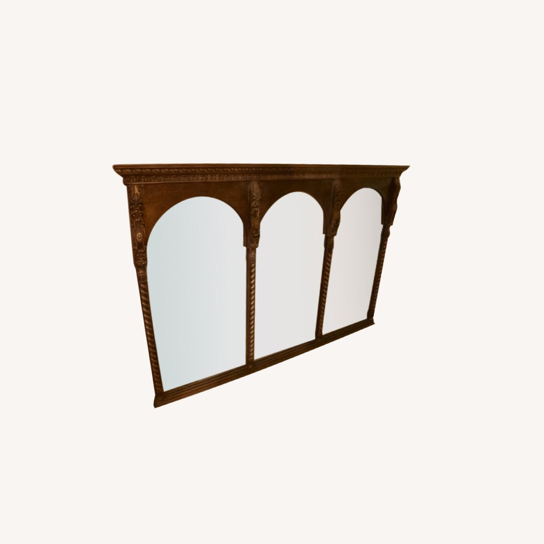 Large Wood Frame Wall Mirror - image-0