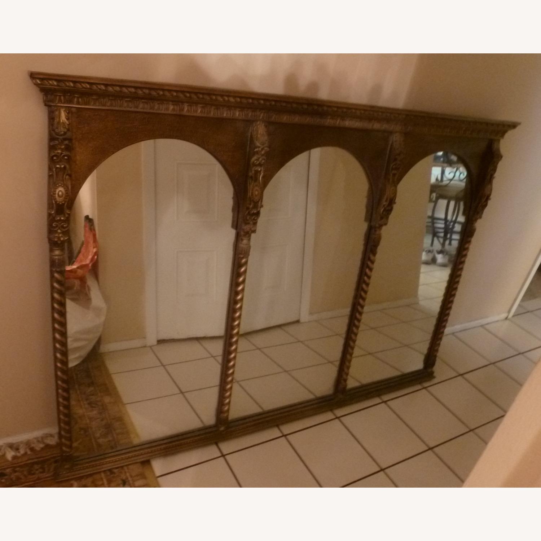 Large Wood Frame Wall Mirror - image-1