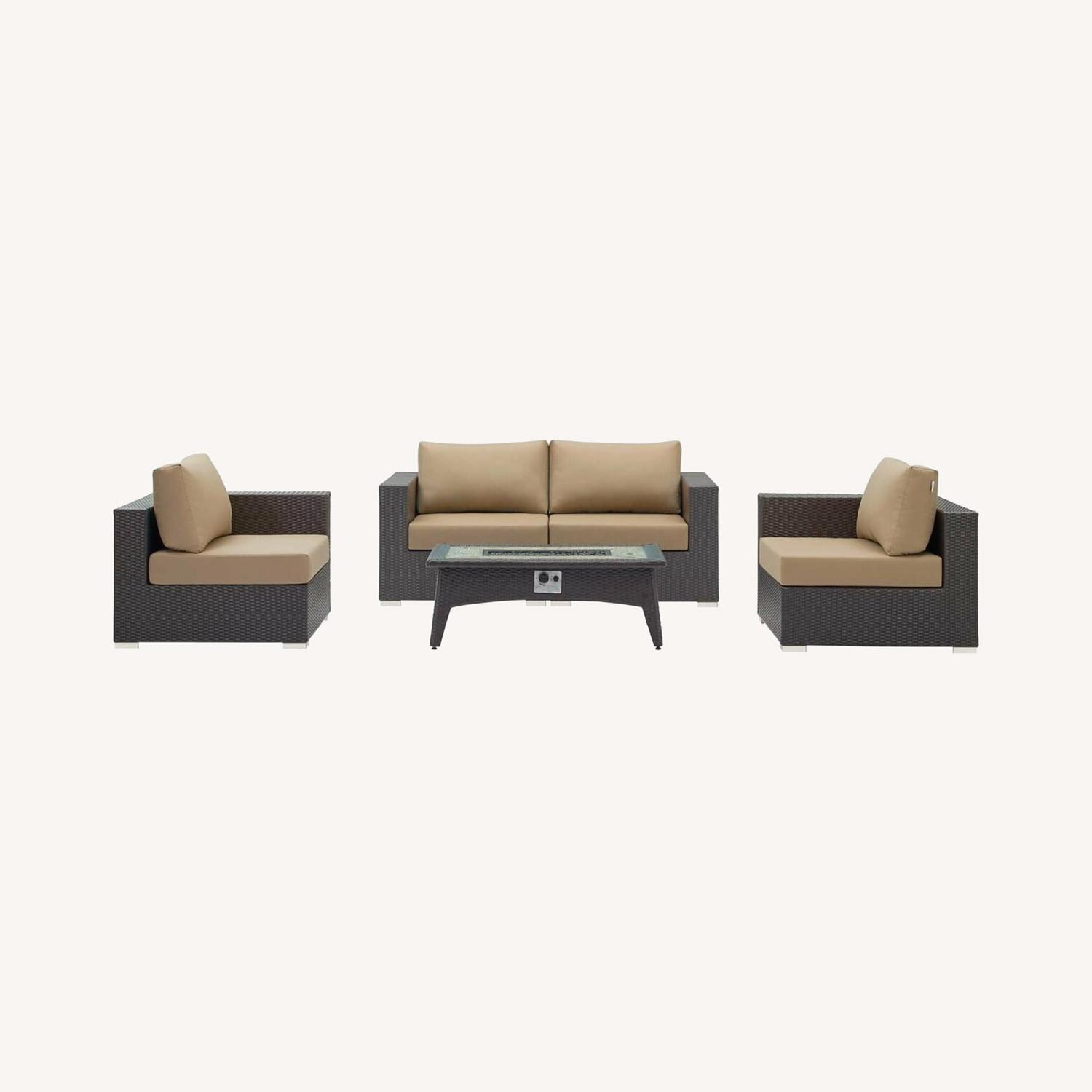 5-Piece Outdoor Sectional In Mocha Fabric Finish - image-8