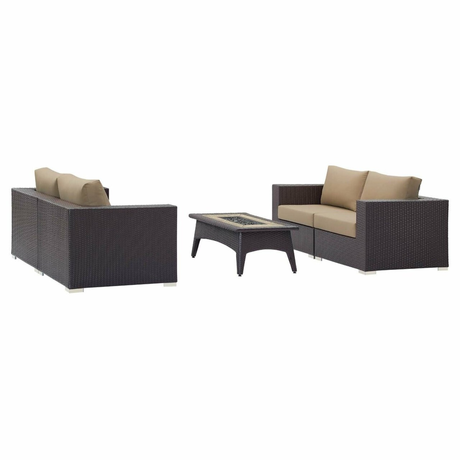 5-Piece Outdoor Sectional In Mocha Fabric Finish - image-1