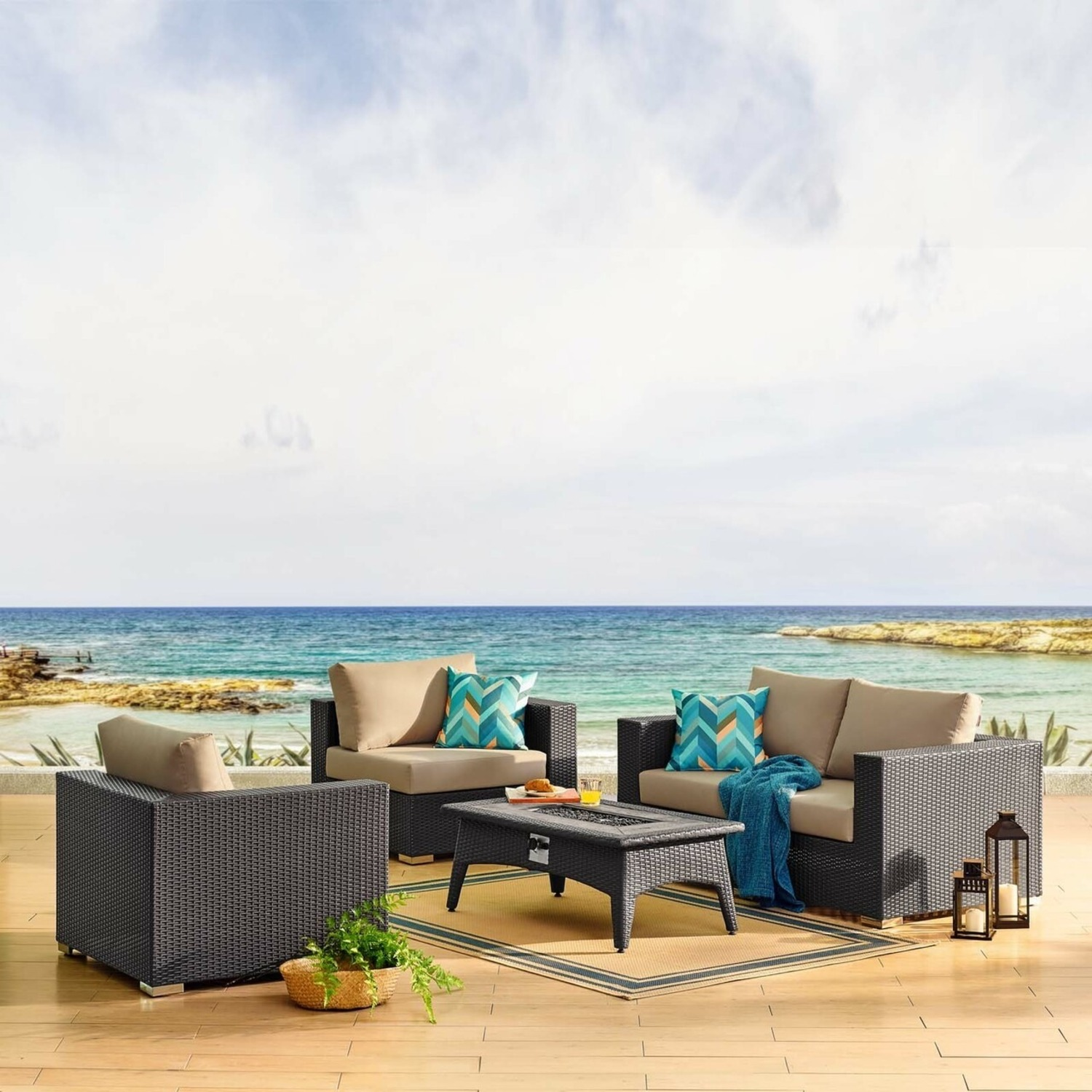 5-Piece Outdoor Sectional In Mocha Fabric Finish - image-7