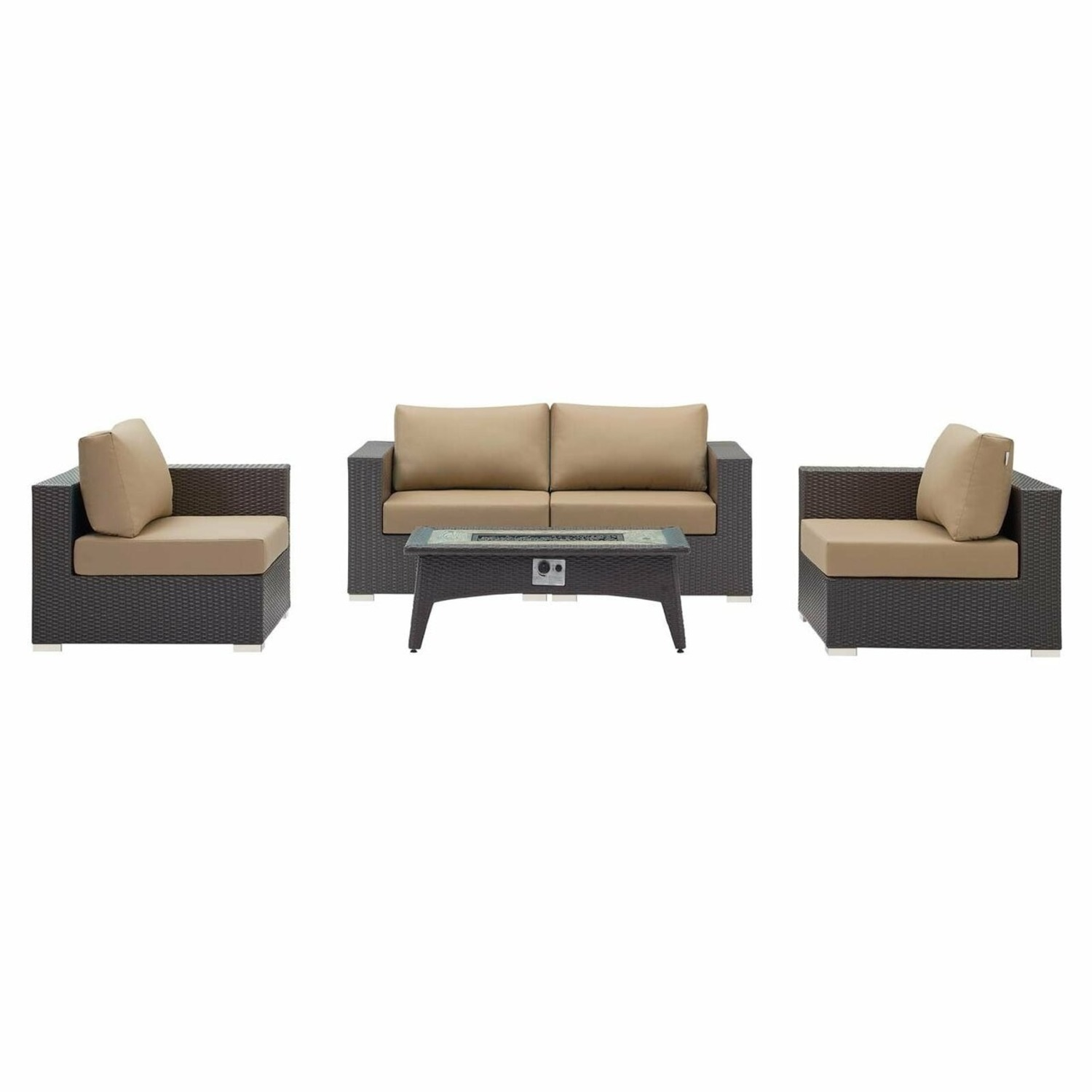 5-Piece Outdoor Sectional In Mocha Fabric Finish - image-0