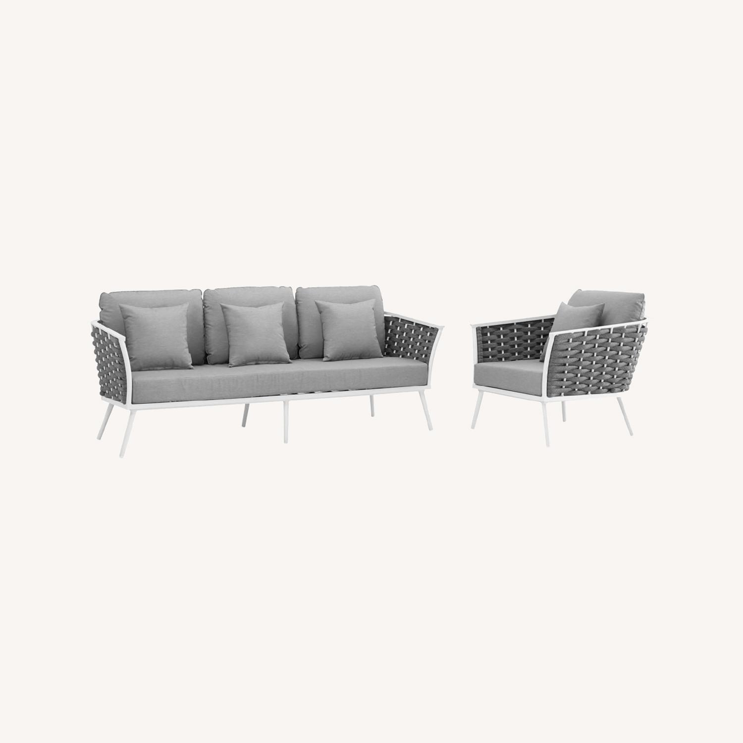 2-Piece Outdoor Sectional In Gray Foam Padding - image-8