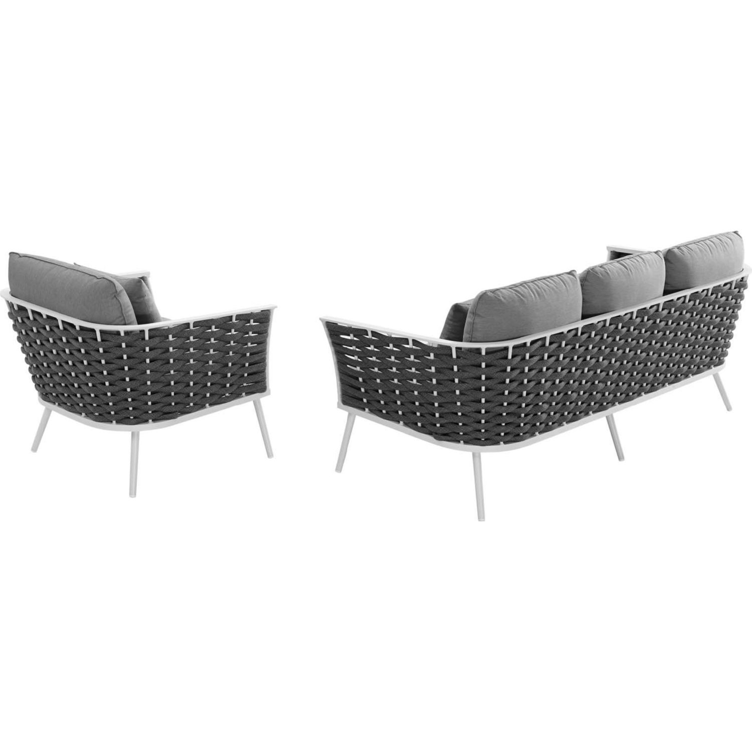 2-Piece Outdoor Sectional In Gray Foam Padding - image-1