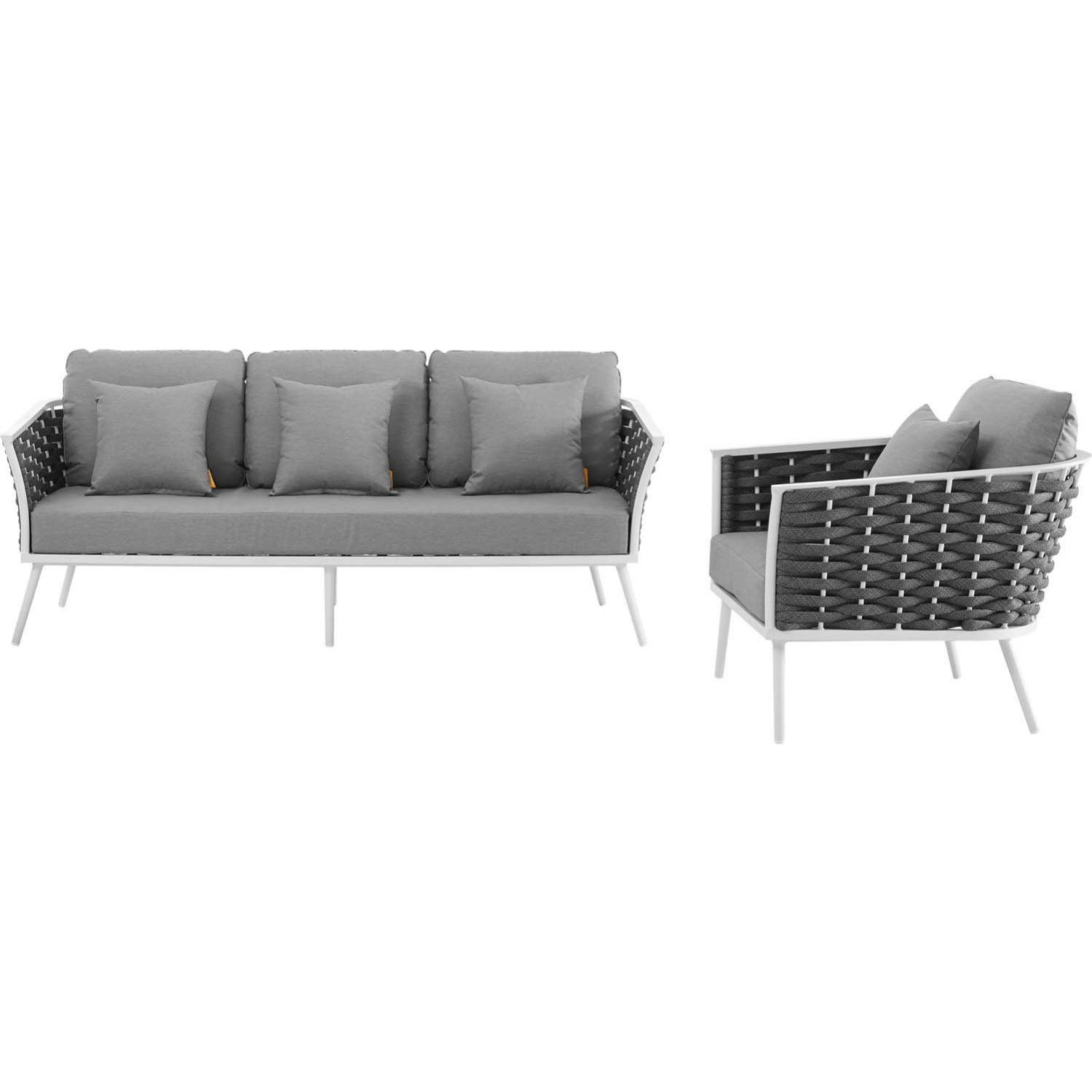 2-Piece Outdoor Sectional In Gray Foam Padding - image-2