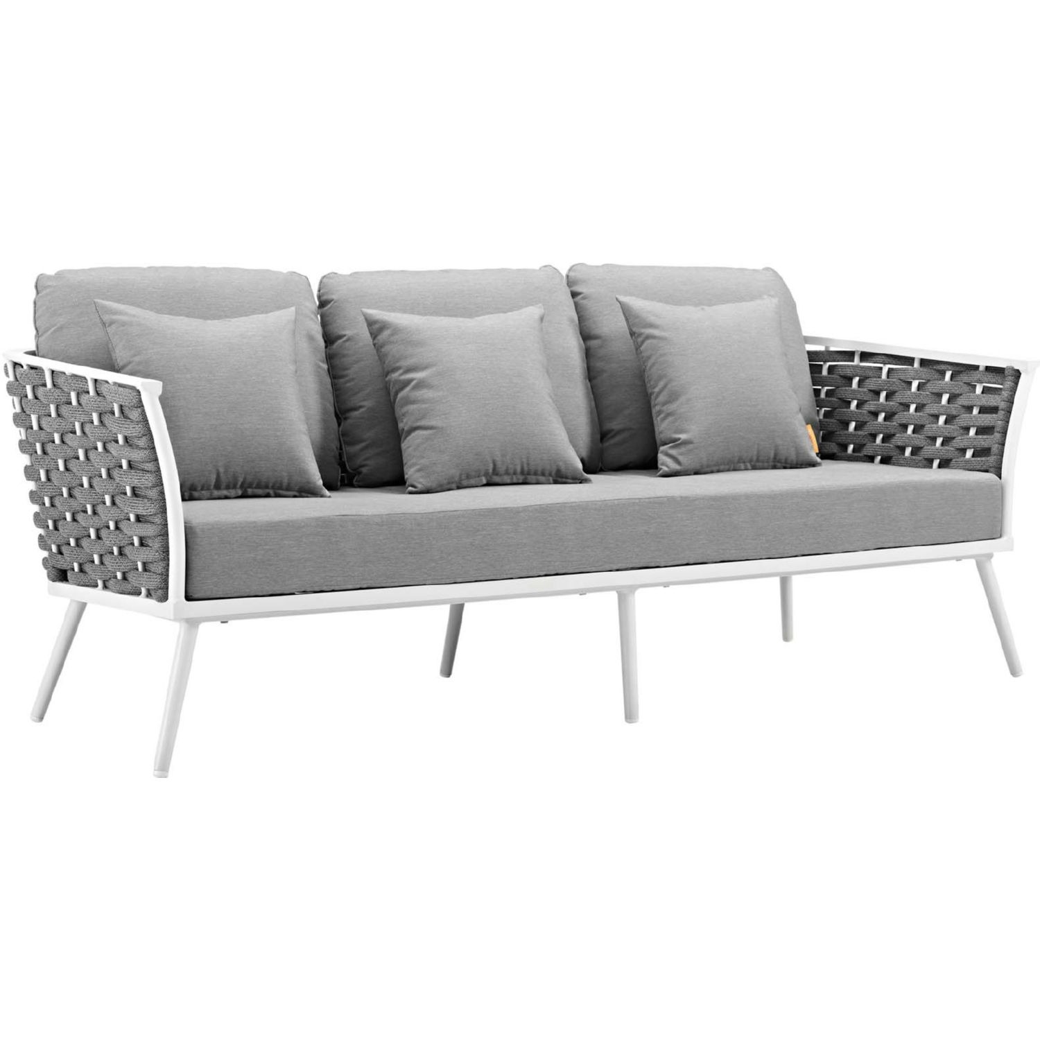 2-Piece Outdoor Sectional In Gray Foam Padding - image-3