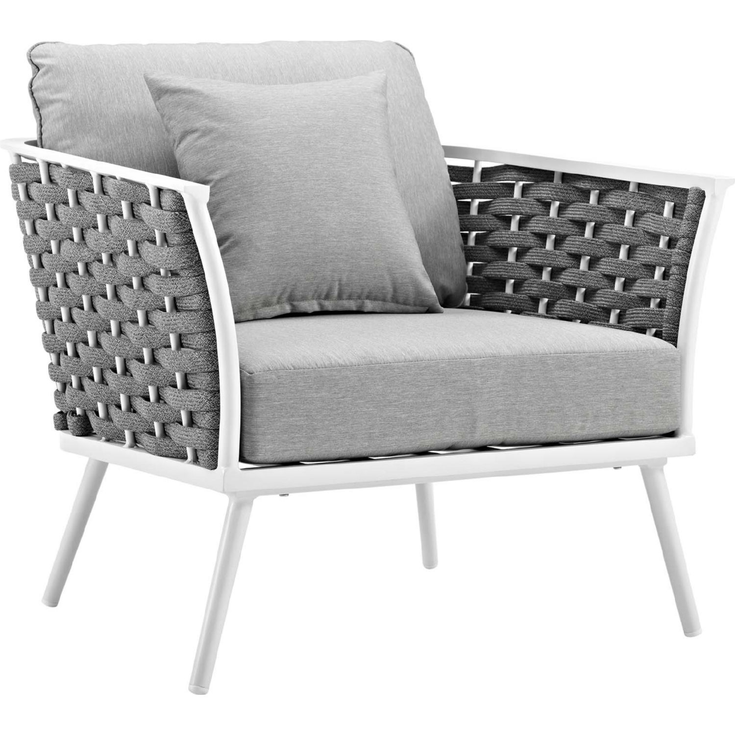 2-Piece Outdoor Sectional In Gray Foam Padding - image-5