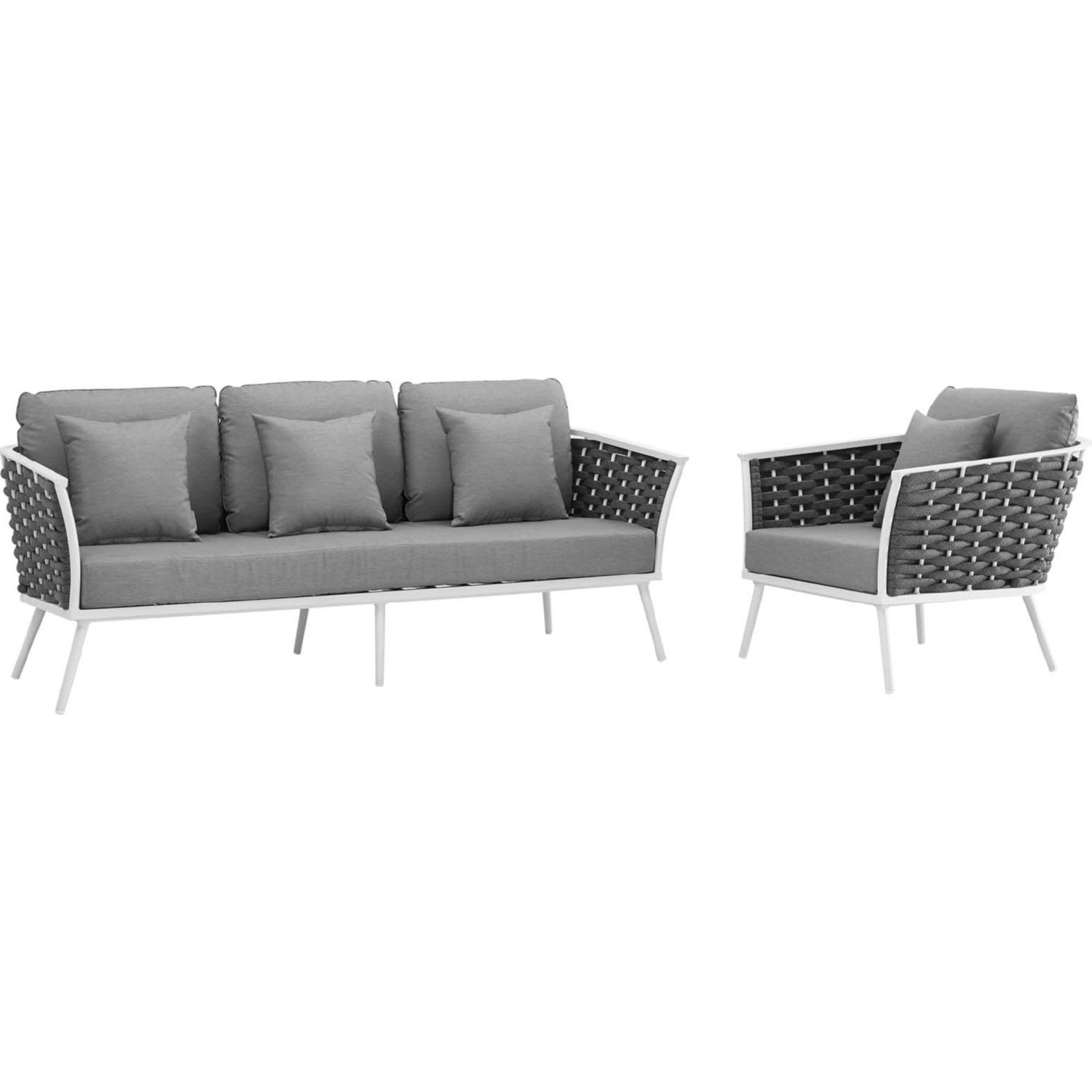 2-Piece Outdoor Sectional In Gray Foam Padding - image-0