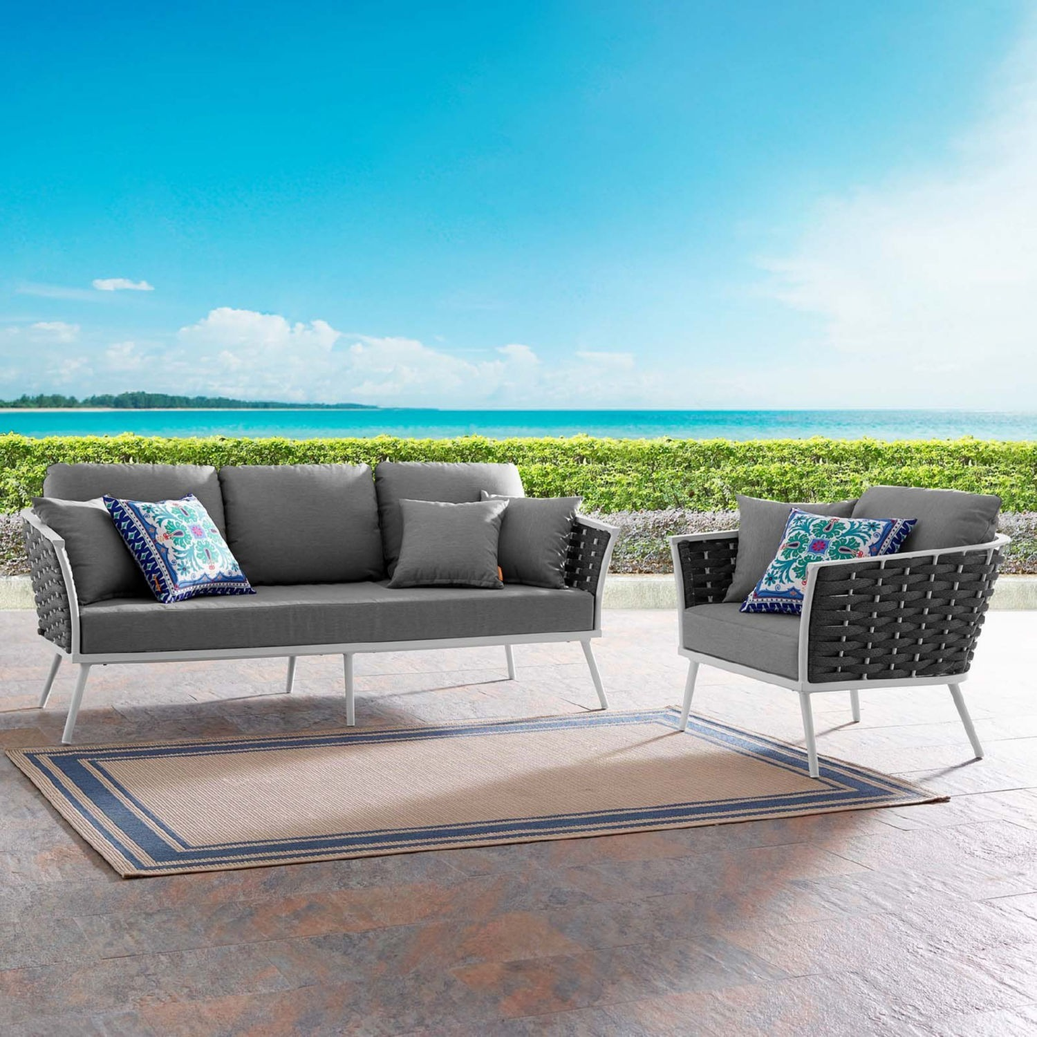 2-Piece Outdoor Sectional In Gray Foam Padding - image-7