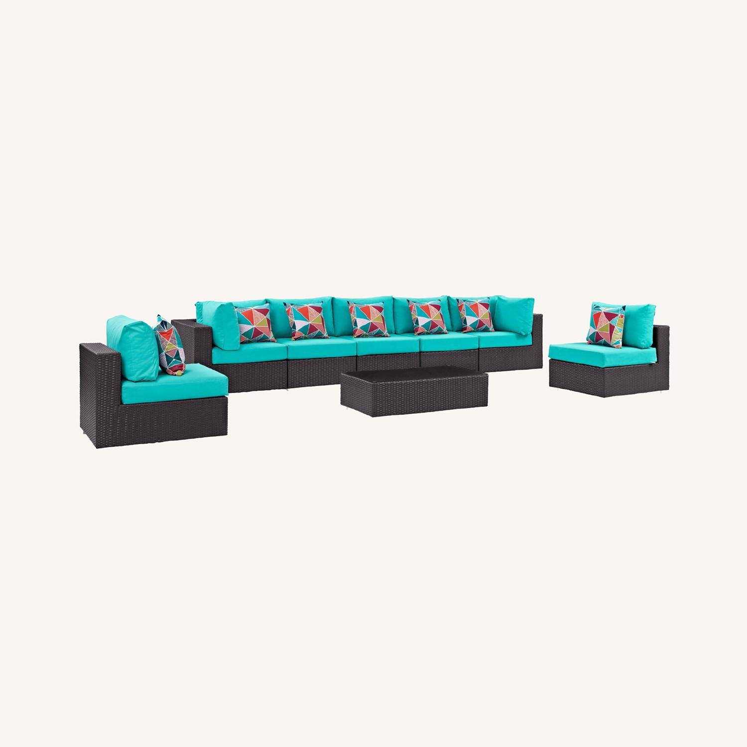 8-Piece Outdoor Sectional In Turquoise Cushion - image-5
