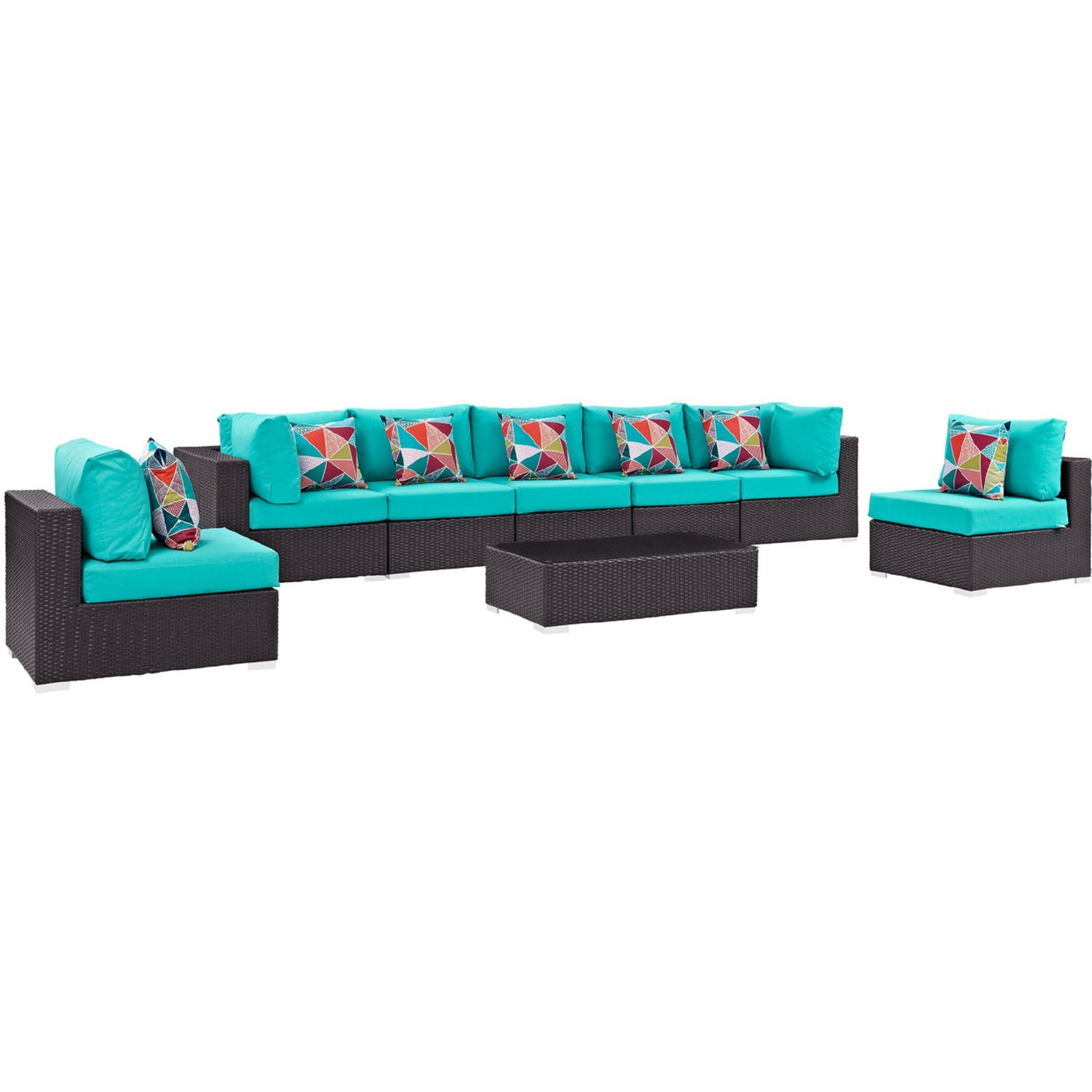 8-Piece Outdoor Sectional In Turquoise Cushion - image-0