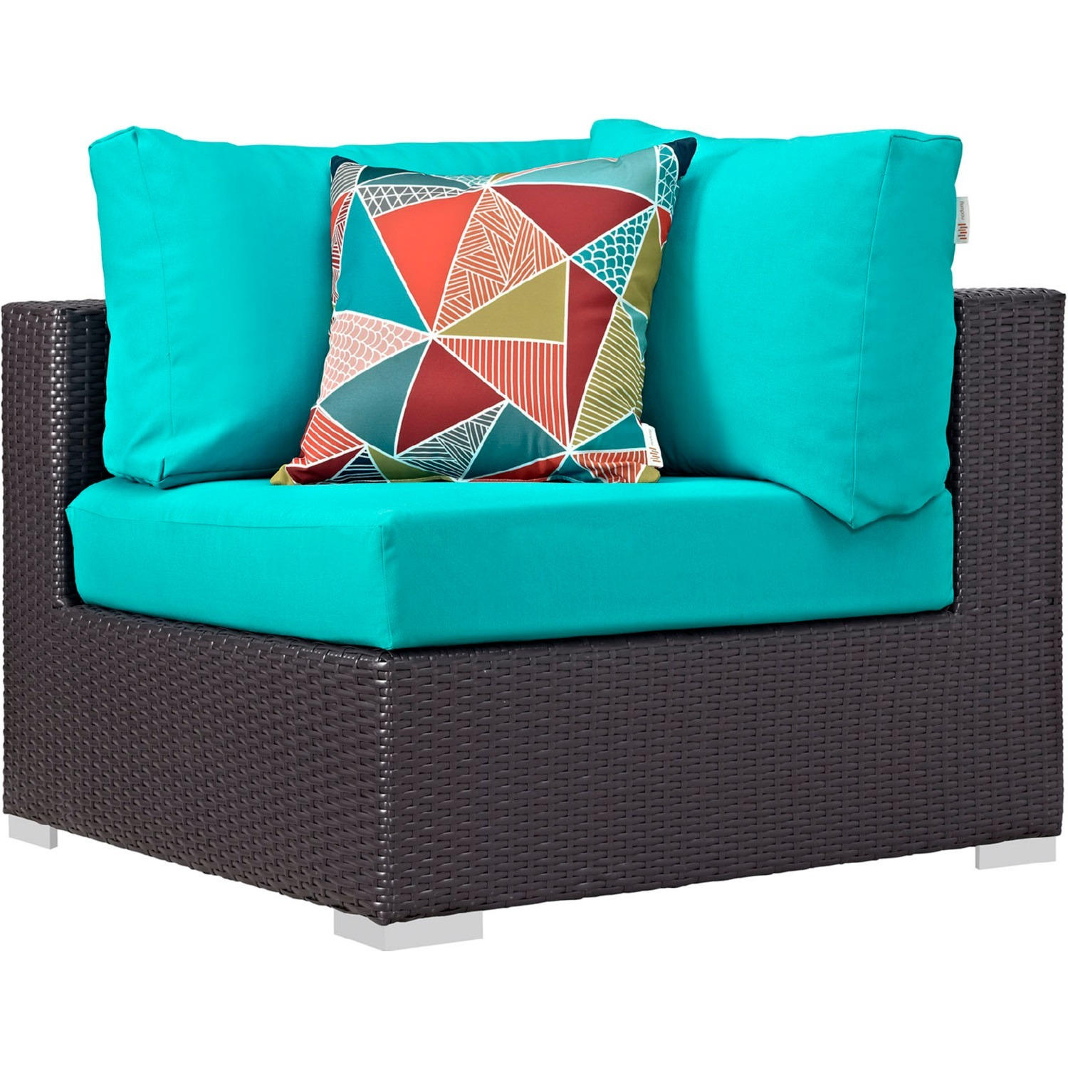 8-Piece Outdoor Sectional In Turquoise Cushion - image-1