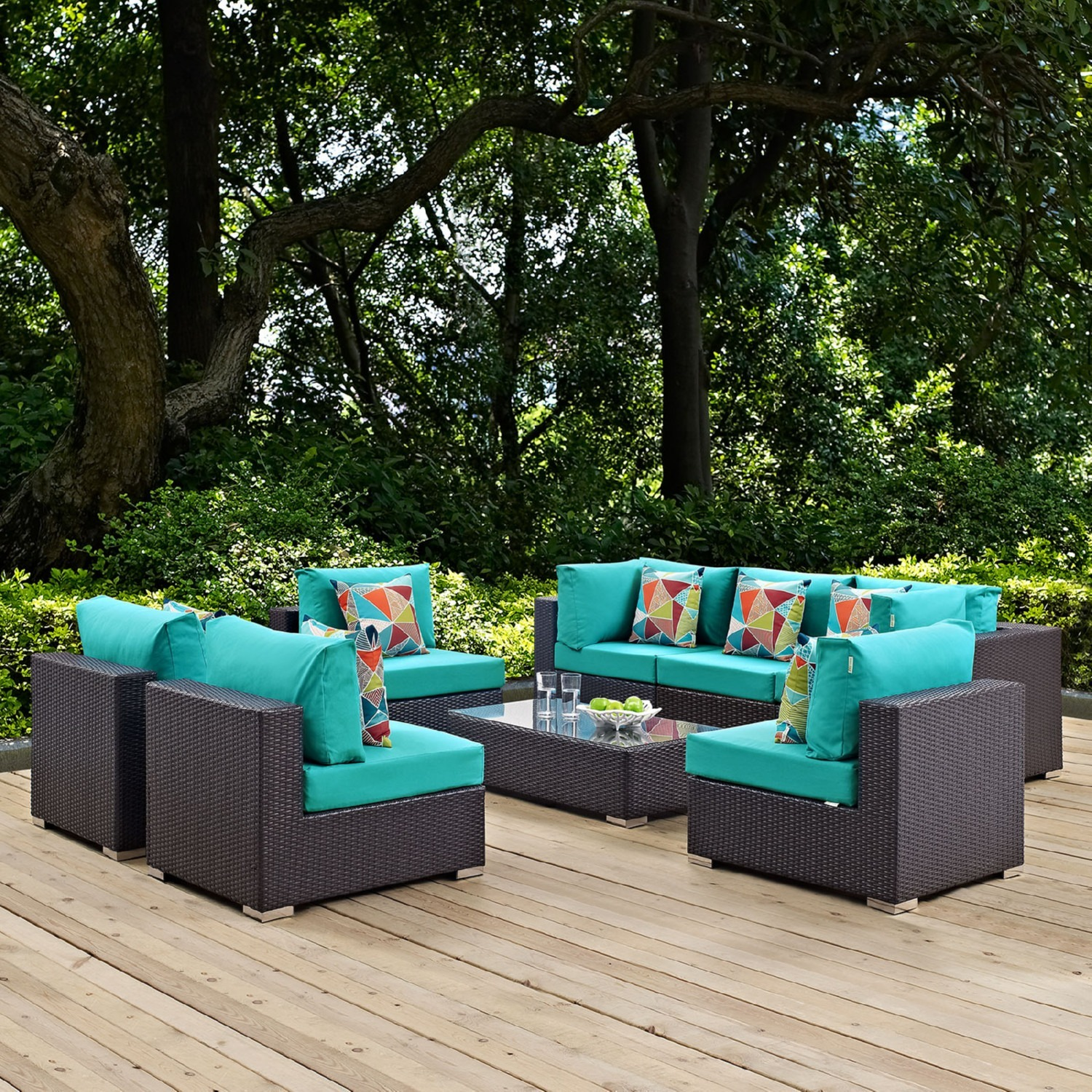 8-Piece Outdoor Sectional In Turquoise Cushion - image-4