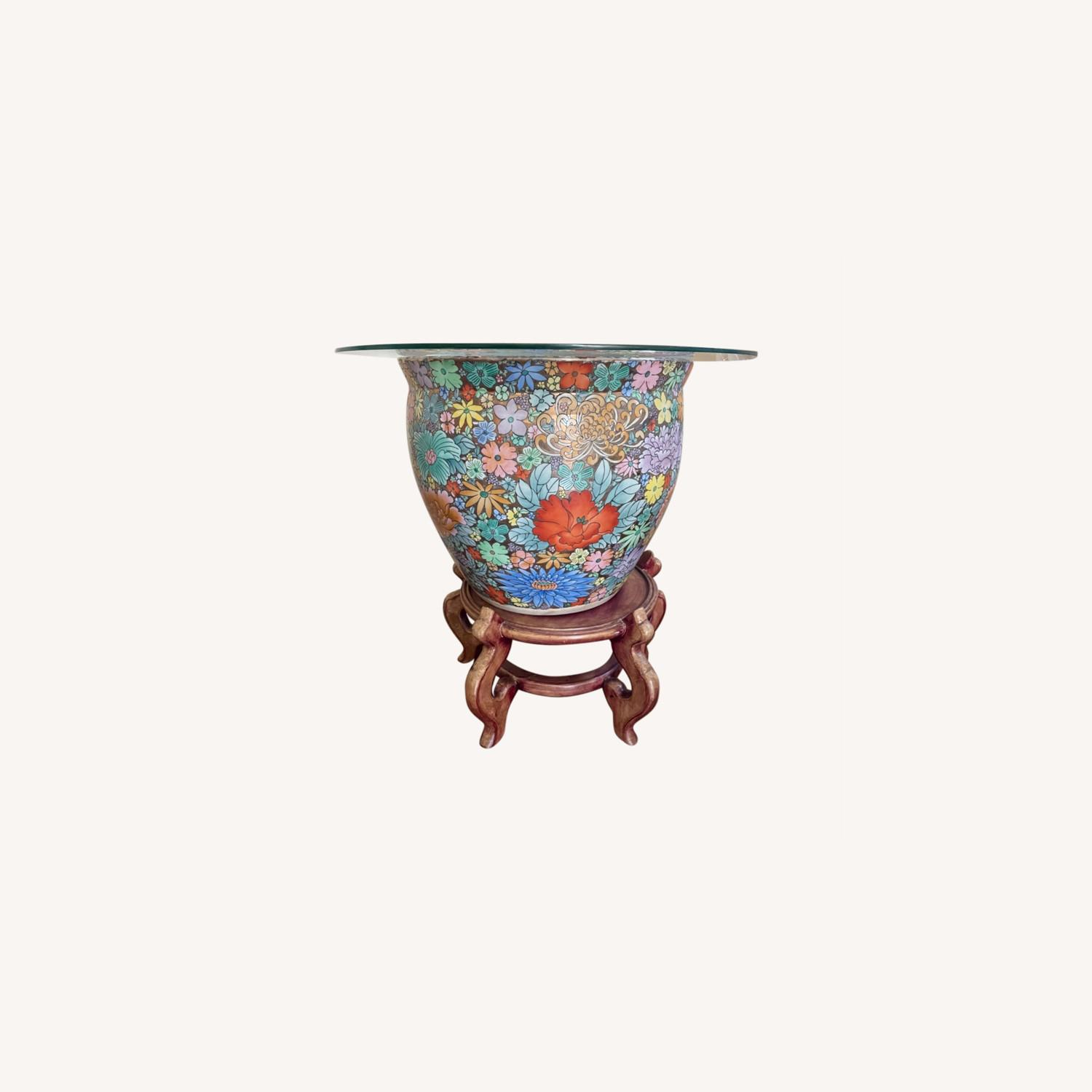 Ceramic Oriental Lotus Glass-topped Accent Table - image-0