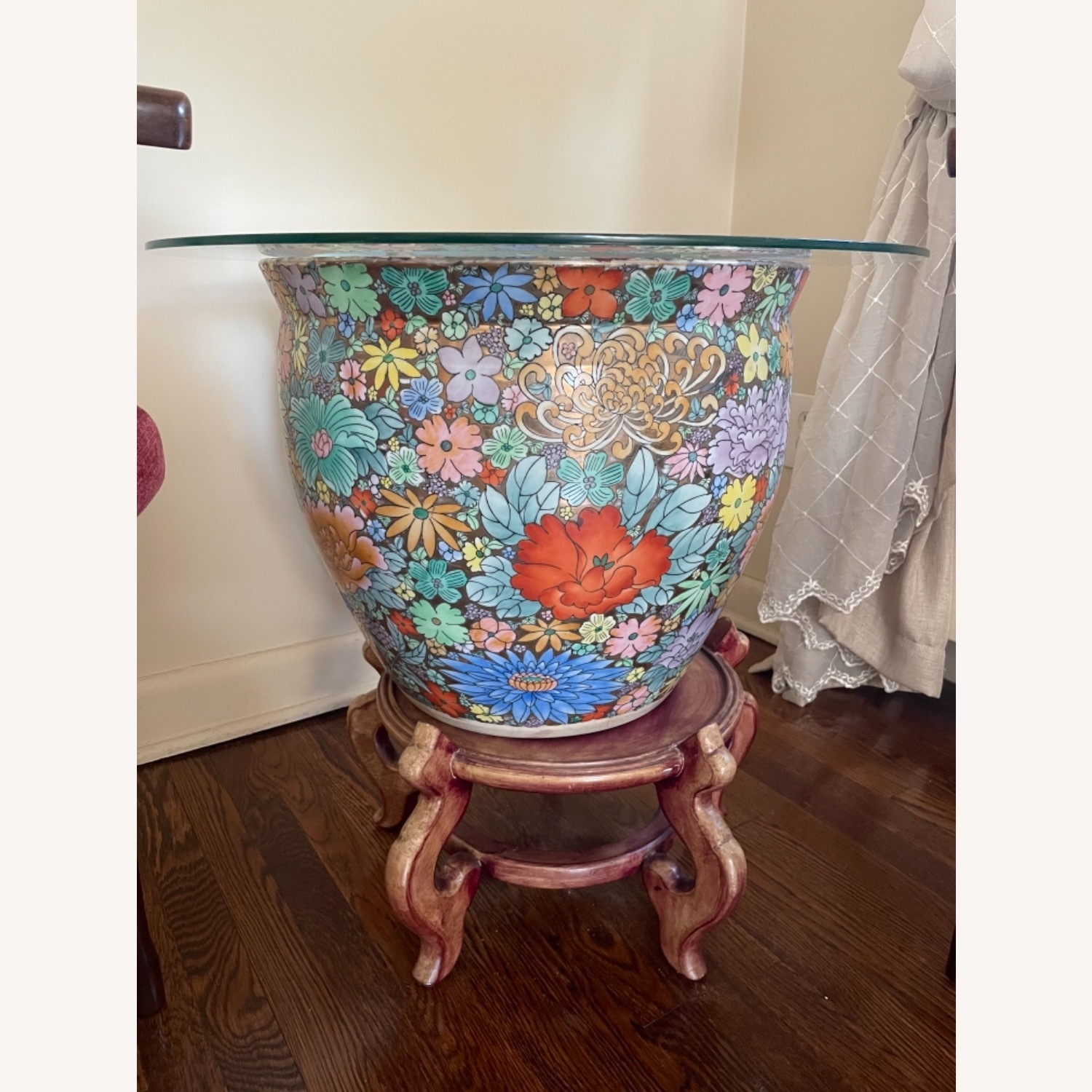 Ceramic Oriental Lotus Glass-topped Accent Table - image-1