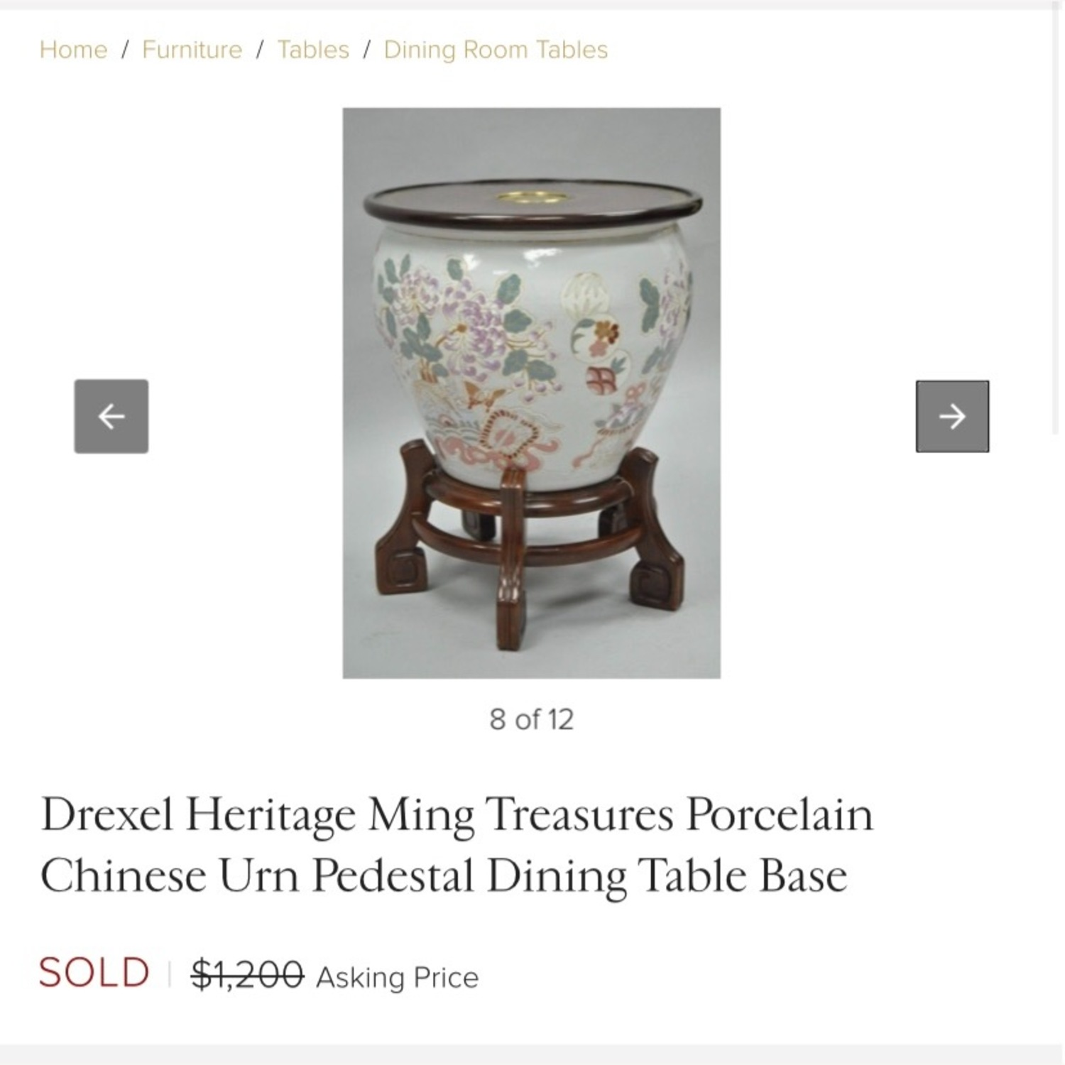 Ceramic Oriental Lotus Glass-topped Accent Table - image-5
