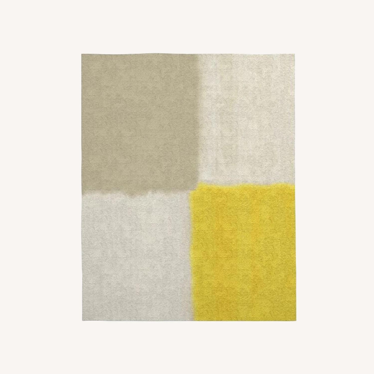 West Elm Area Rug 5' x 8' Frost Gray + Yellow - image-0