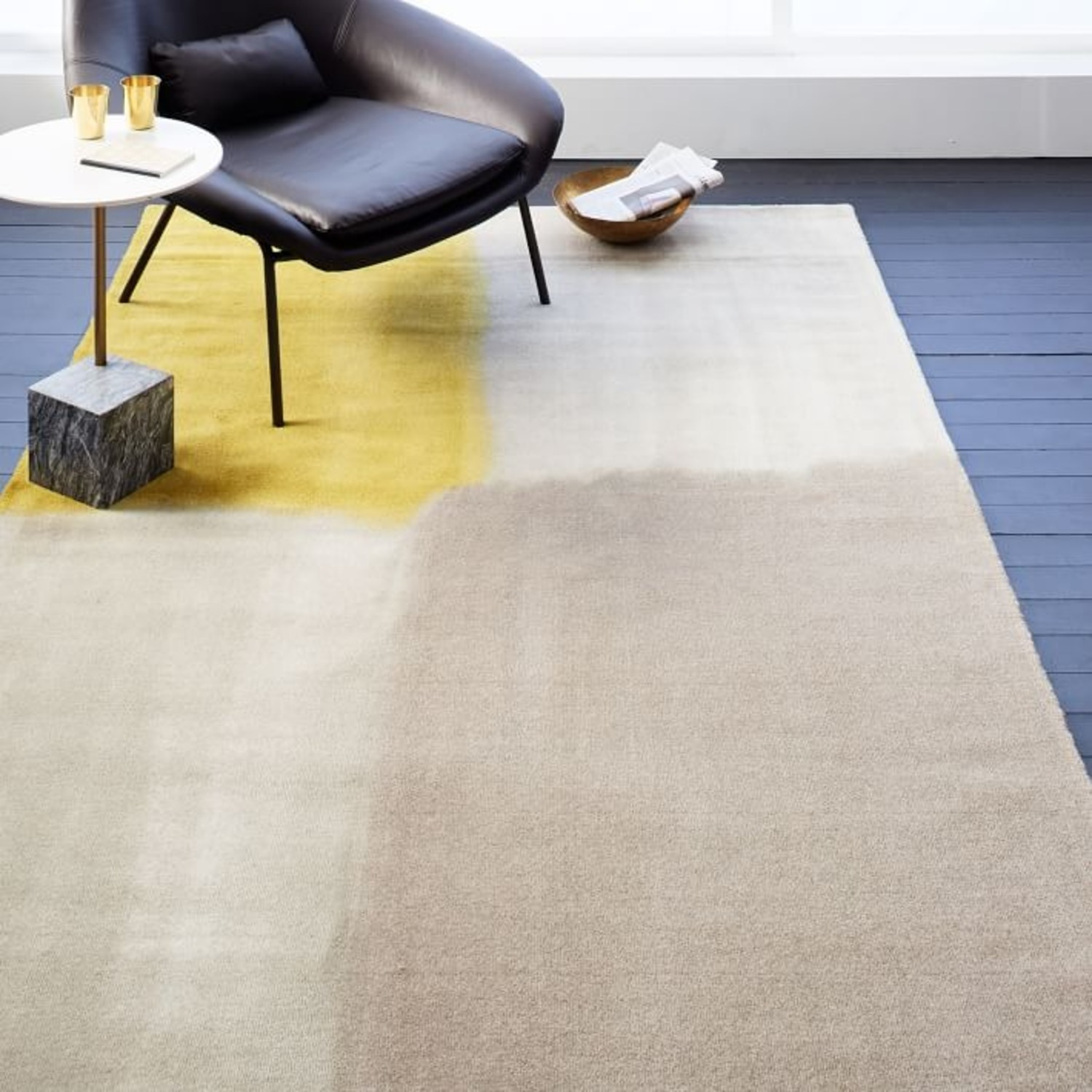 West Elm Area Rug 5' x 8' Frost Gray + Yellow - image-7
