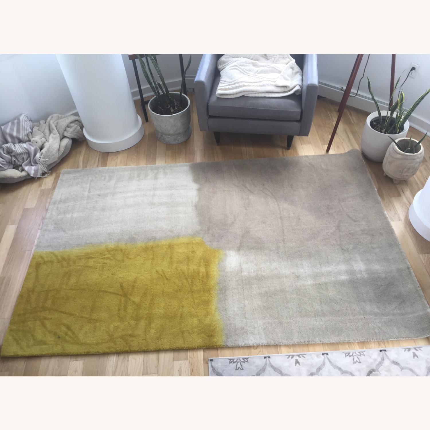 West Elm Area Rug 5' x 8' Frost Gray + Yellow - image-3