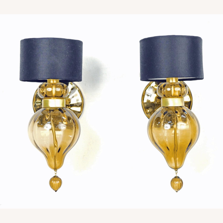 Donghia 'Regina' Glass Sconces in Sepia, PAIR - image-0