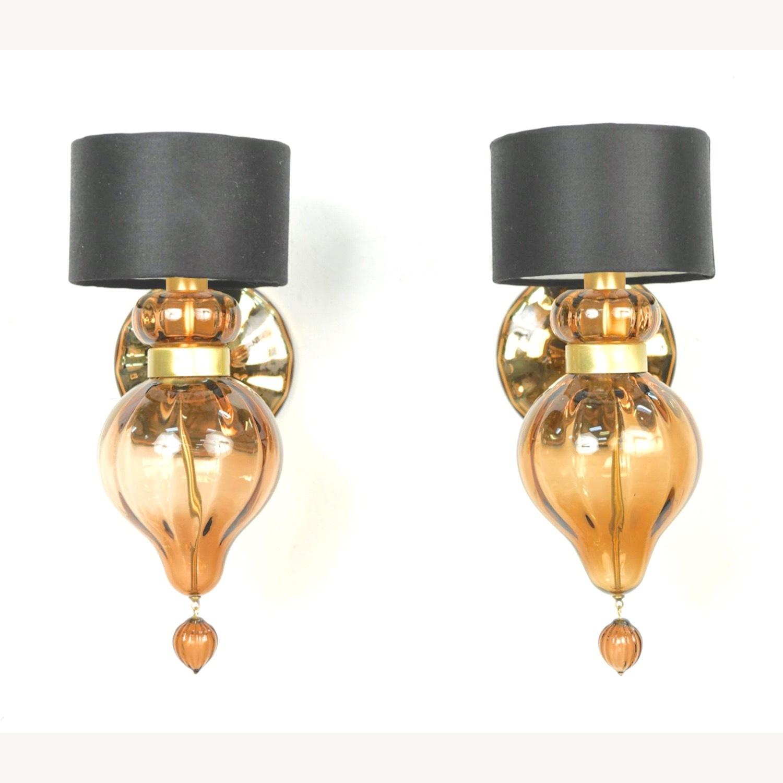 Donghia 'Regina' Glass Sconces in Sepia, PAIR - image-6