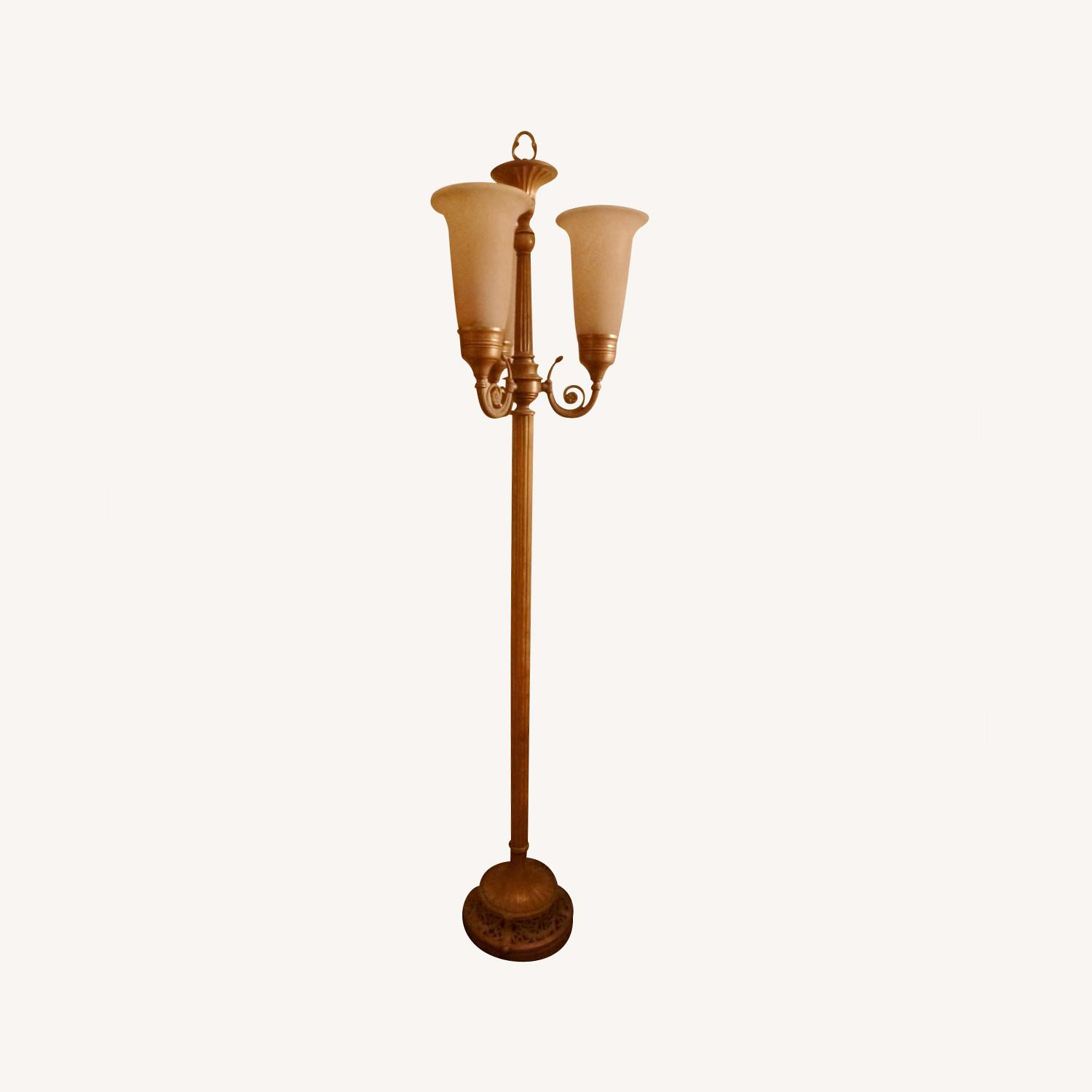 Gold tone Floor Lamp w/3 Lights and Dimmer Switch - image-0