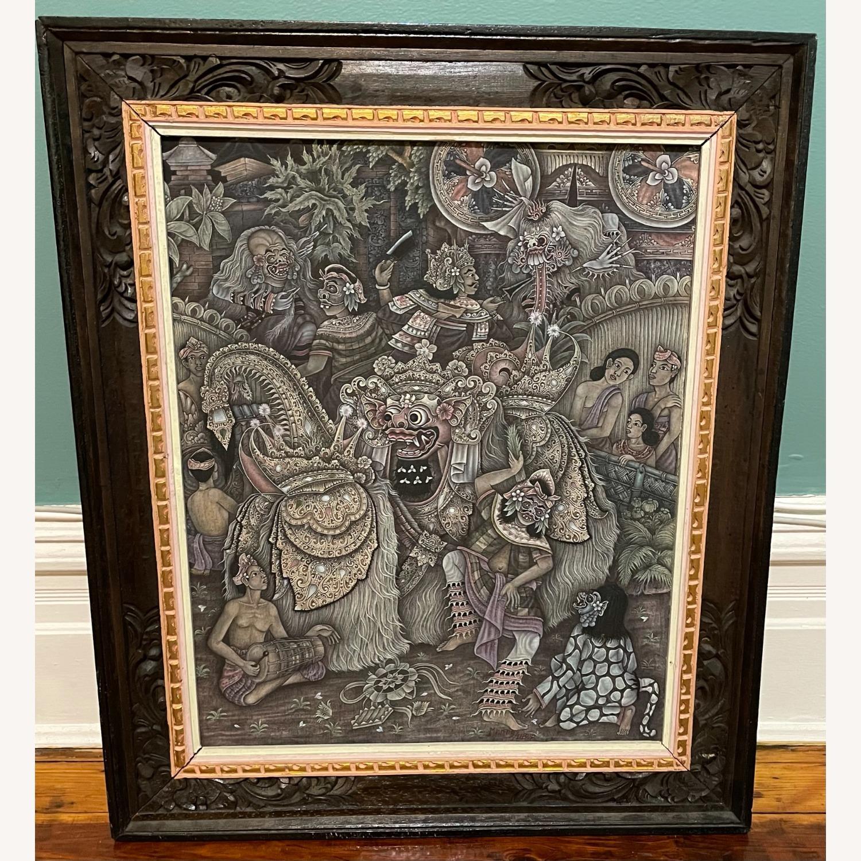 Vintage Ubud Indonesian Festival Painting - image-1