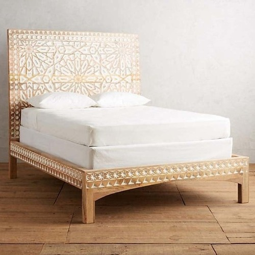 Used Mughal Garden Handmade Geometric Design Bed Frame for sale on AptDeco