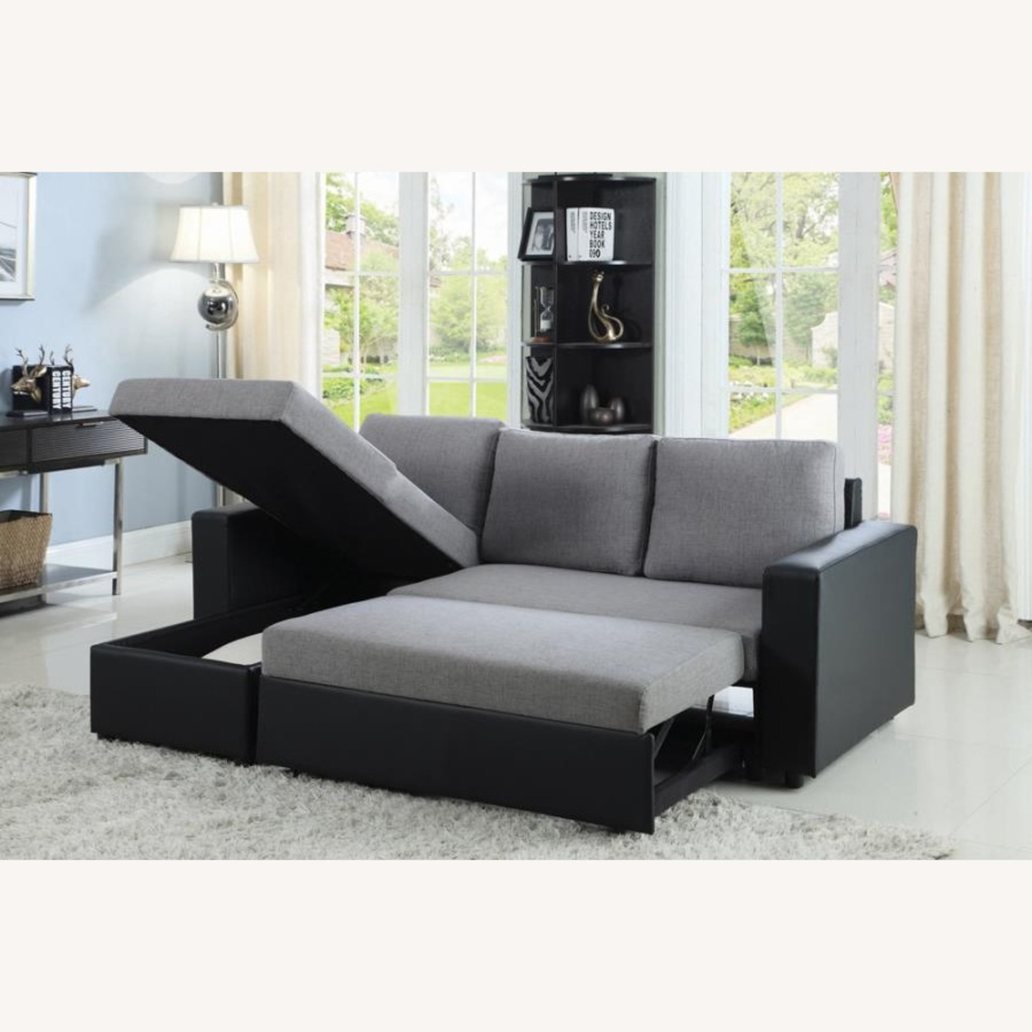 2-Piece Sectional In Grey Linen-Like Fabric - image-3