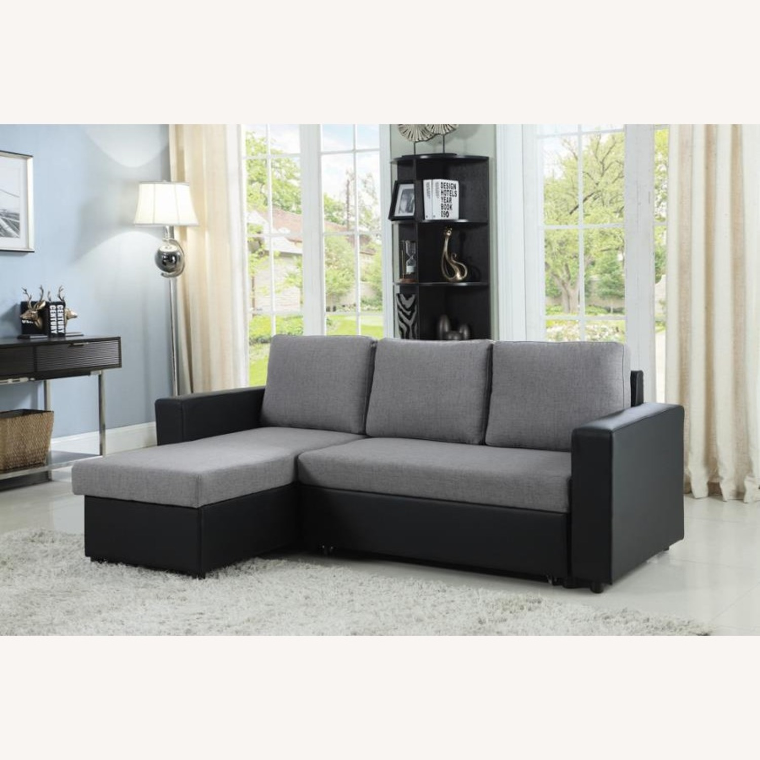 2-Piece Sectional In Grey Linen-Like Fabric - image-4
