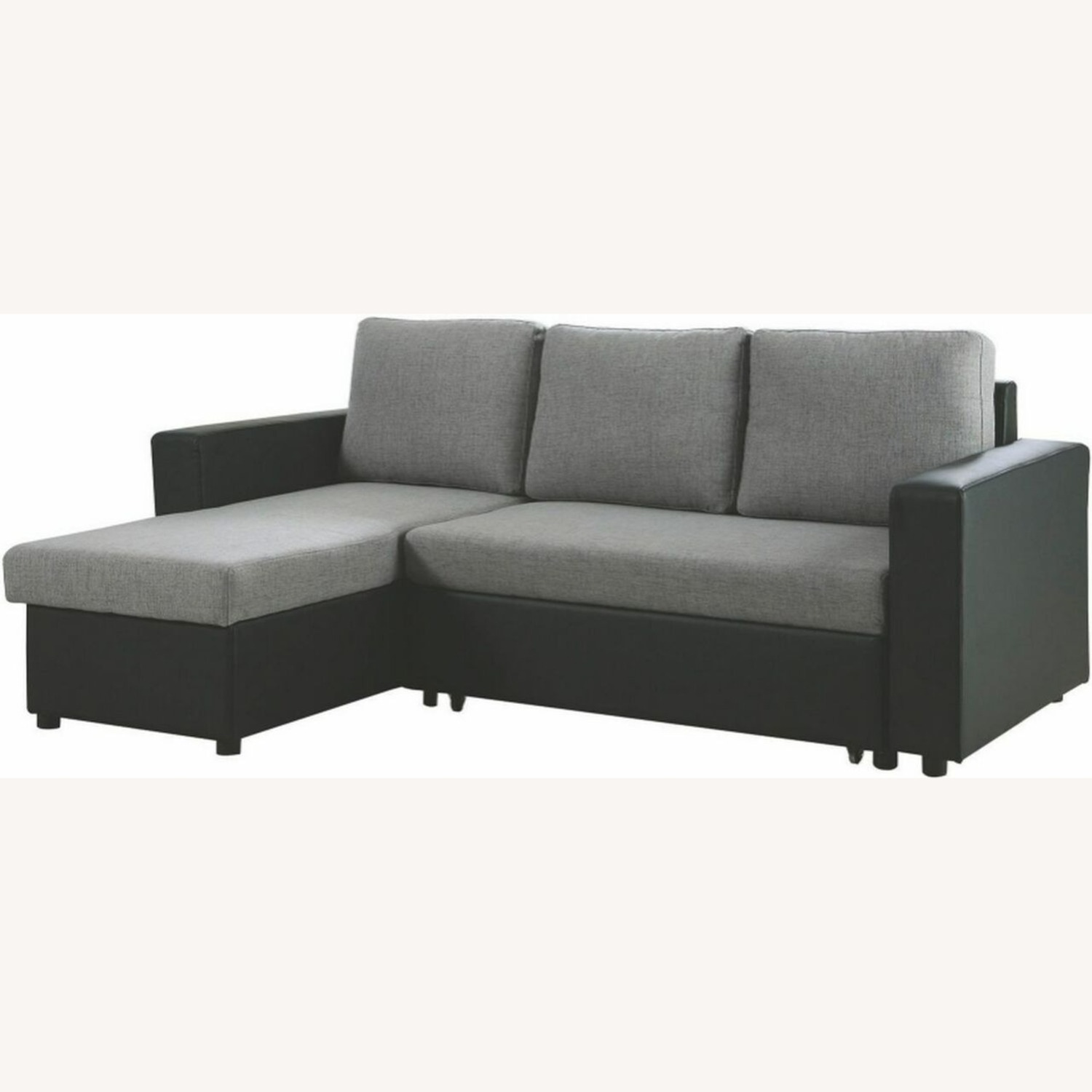 2-Piece Sectional In Grey Linen-Like Fabric - image-1
