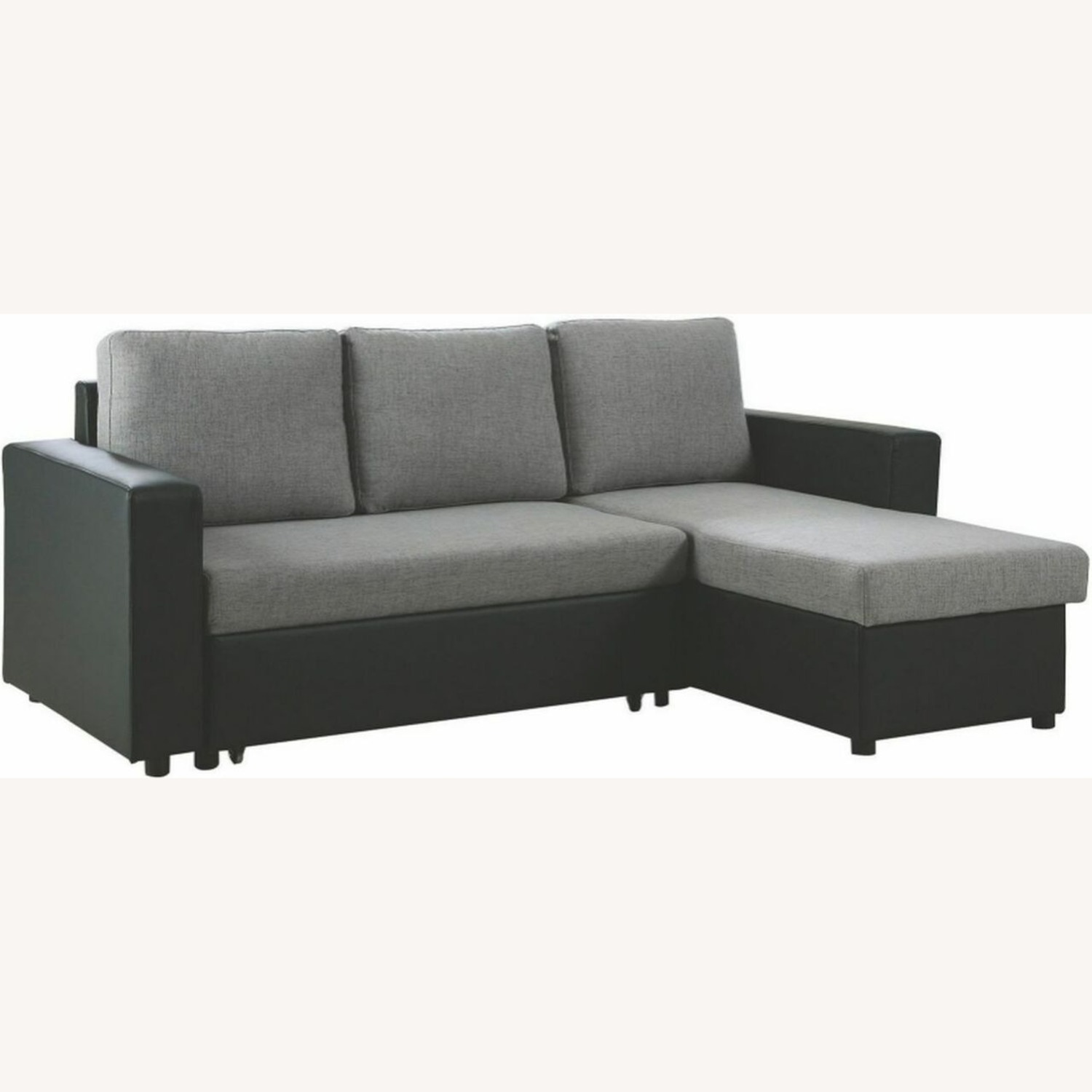 2-Piece Sectional In Grey Linen-Like Fabric - image-0