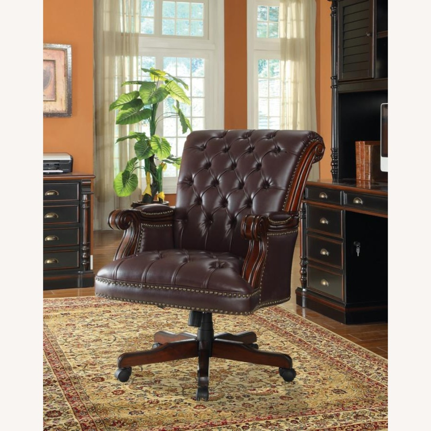 Office Chair In Dark Brown Finish - image-2