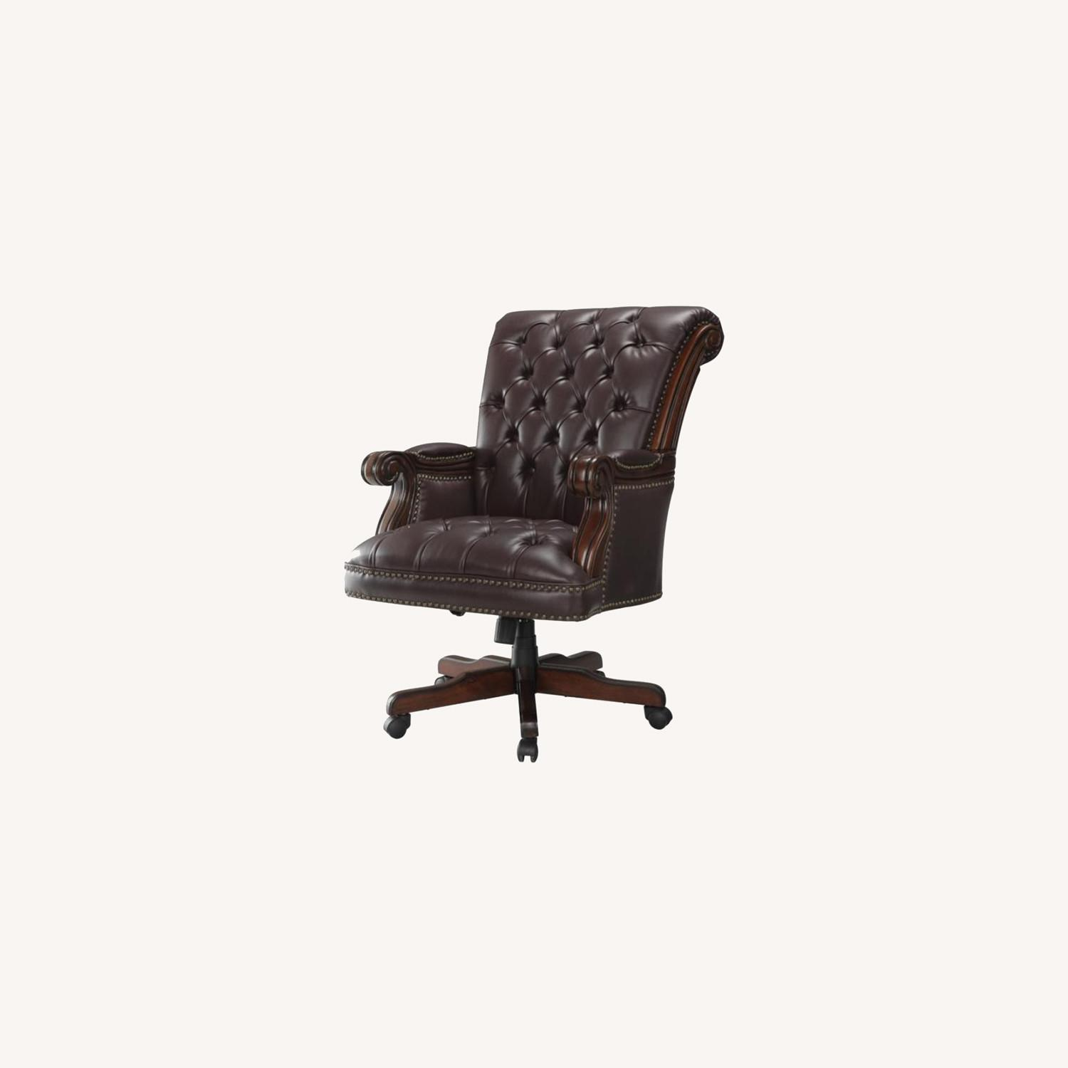 Office Chair In Dark Brown Finish - image-4