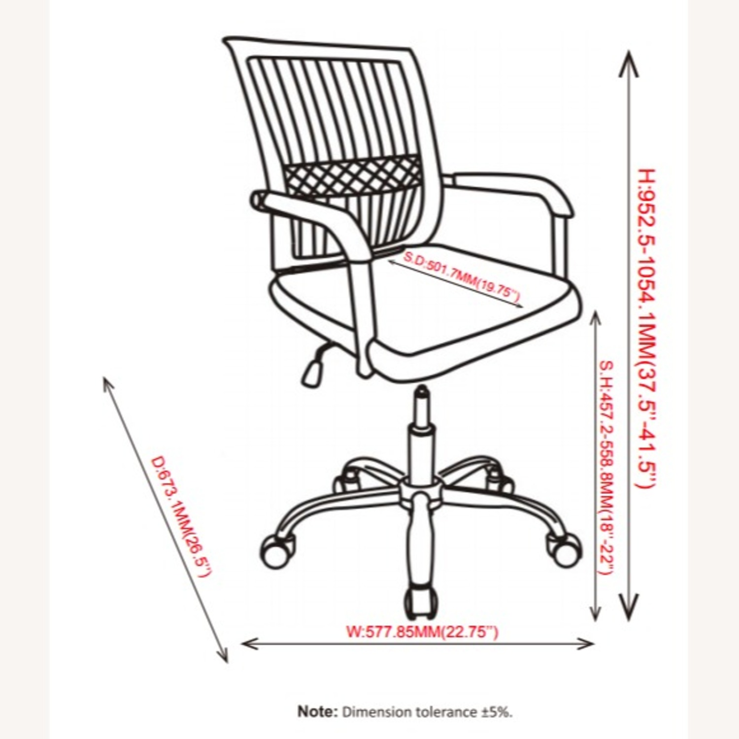 Office Chair In Black Fabric Finish W/ Mesh Back - image-6