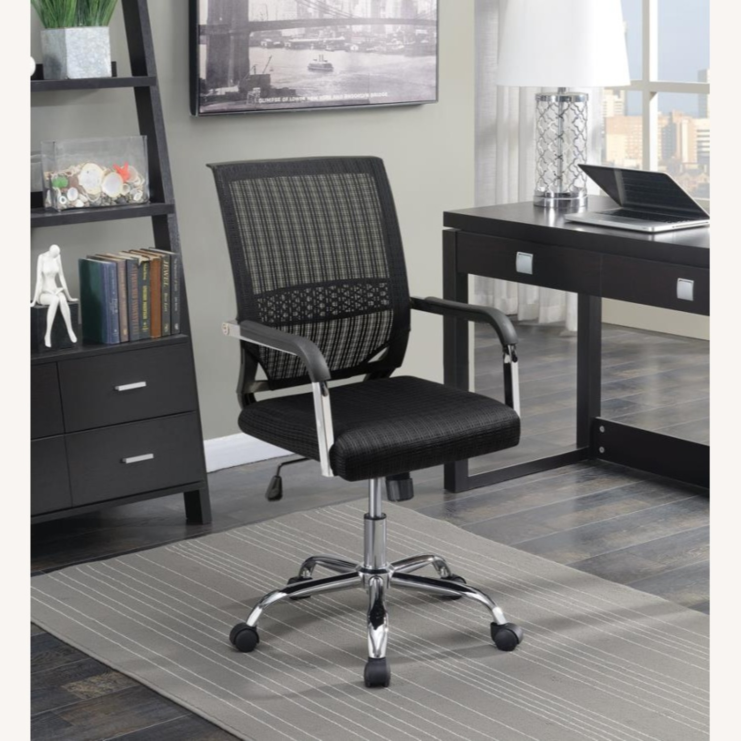 Office Chair In Black Fabric Finish W/ Mesh Back - image-5
