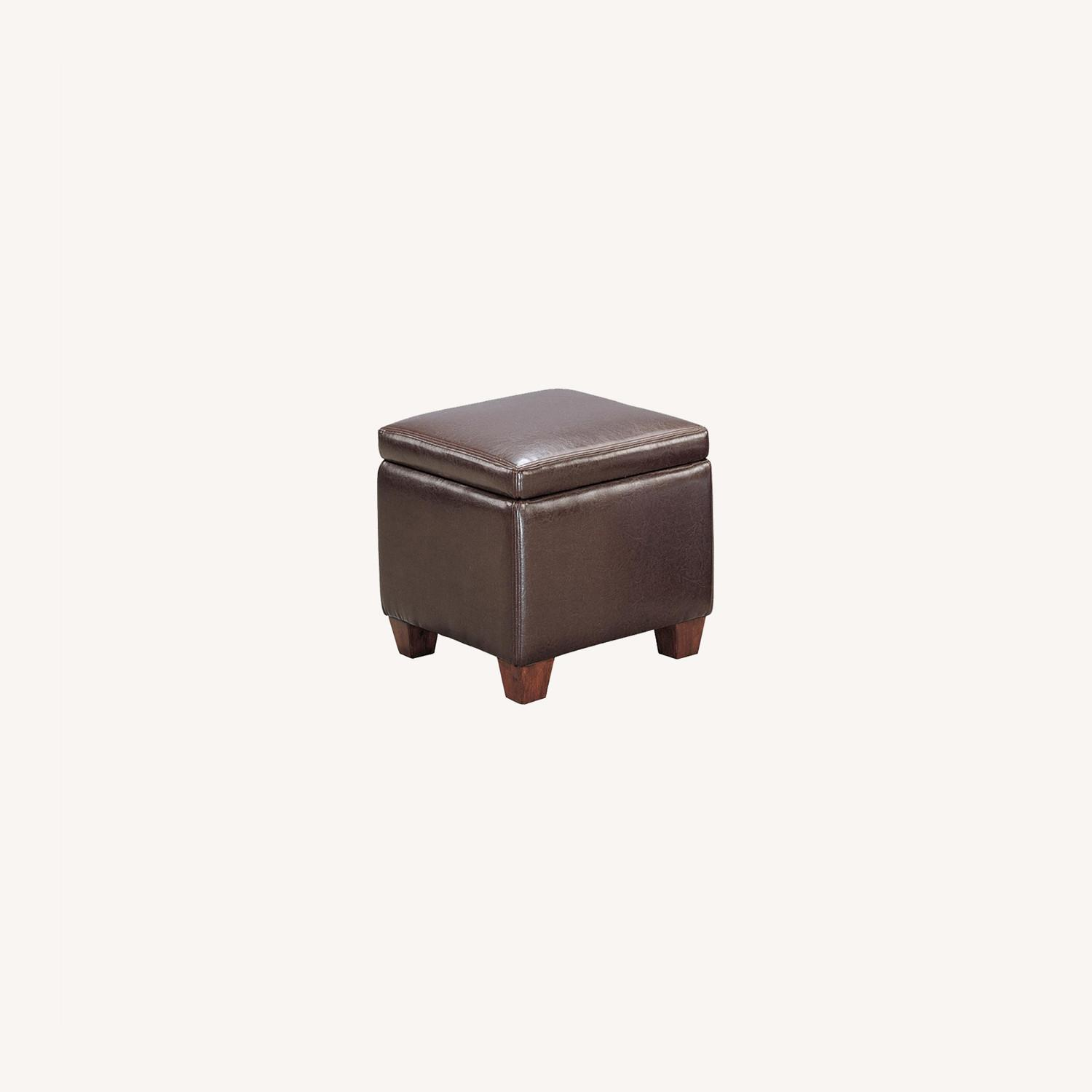 Ottoman In Cube-Shaped Dark Brown Finish - image-3