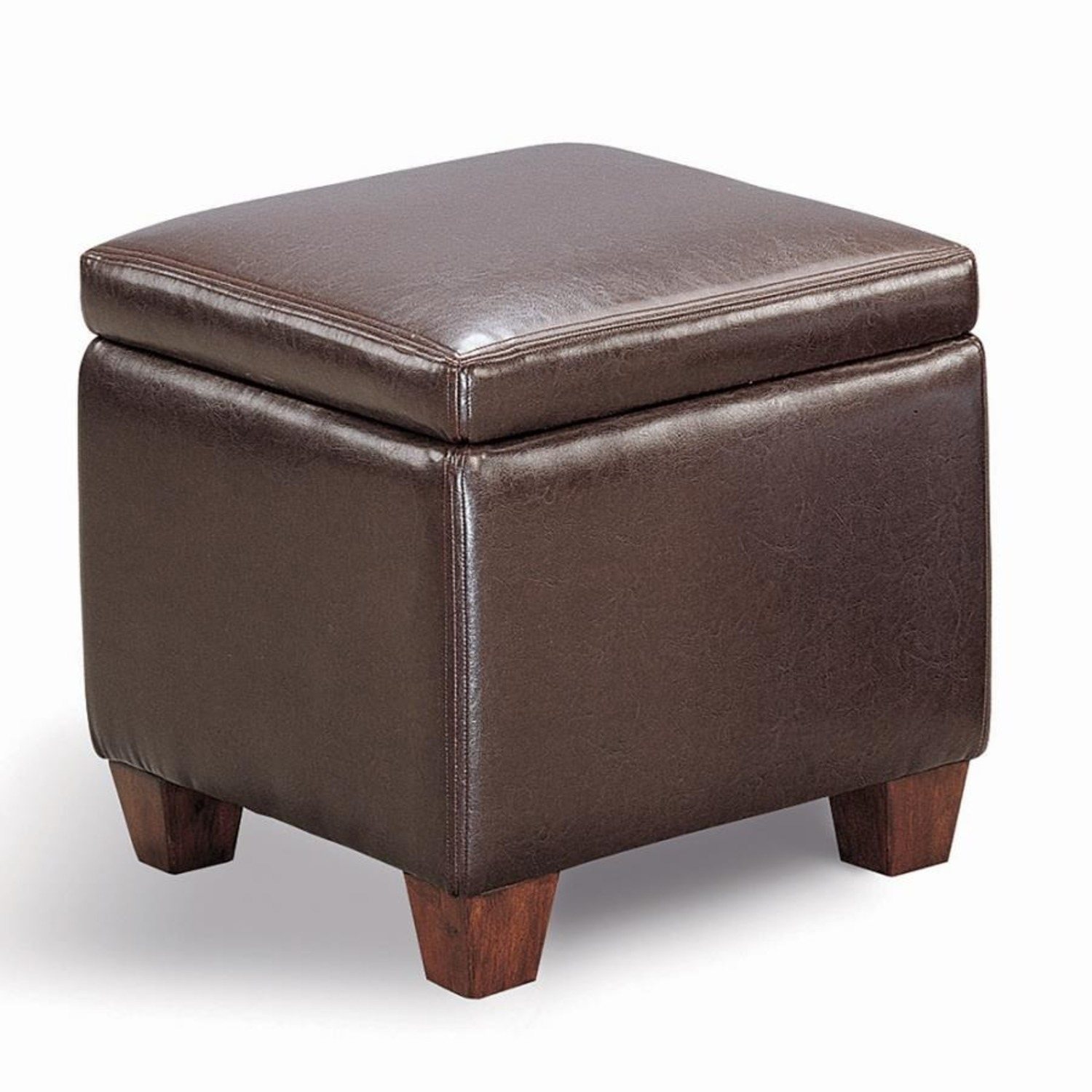 Ottoman In Cube-Shaped Dark Brown Finish - image-1