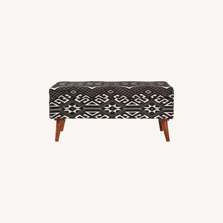Bench In Black & White Woven Cotton Tribal Motif - image-6