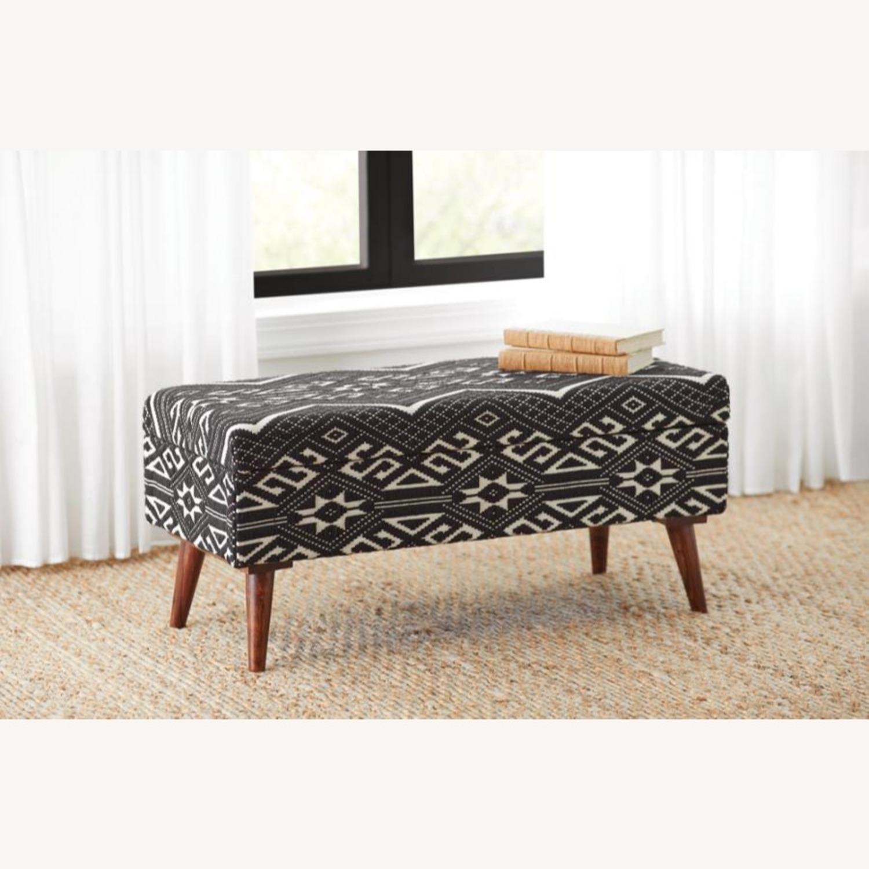 Bench In Black & White Woven Cotton Tribal Motif - image-5