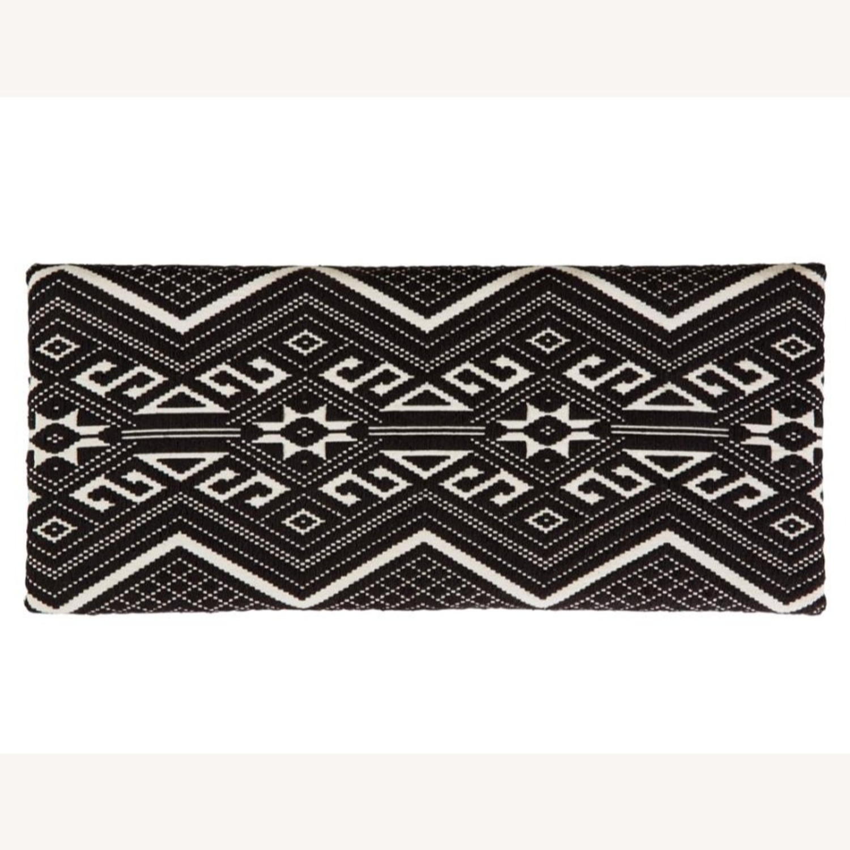 Bench In Black & White Woven Cotton Tribal Motif - image-4