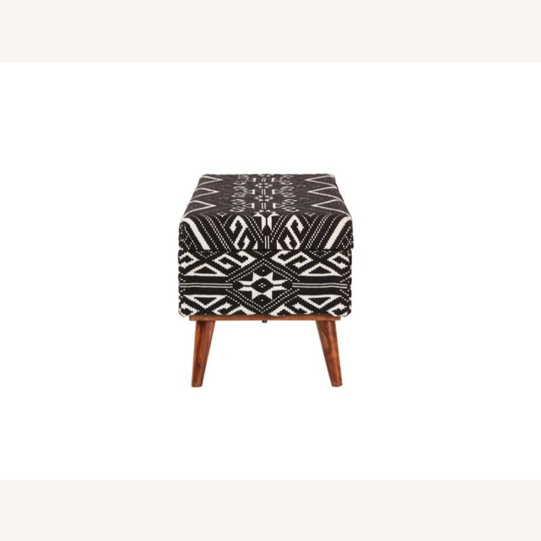 Bench In Black & White Woven Cotton Tribal Motif - image-2