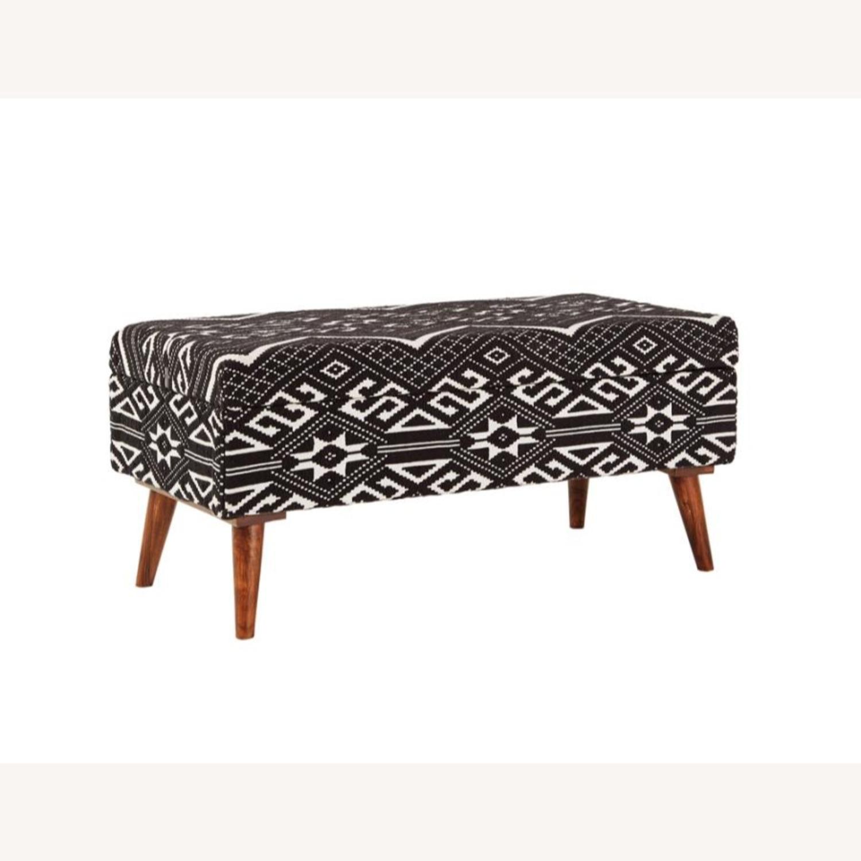 Bench In Black & White Woven Cotton Tribal Motif - image-0