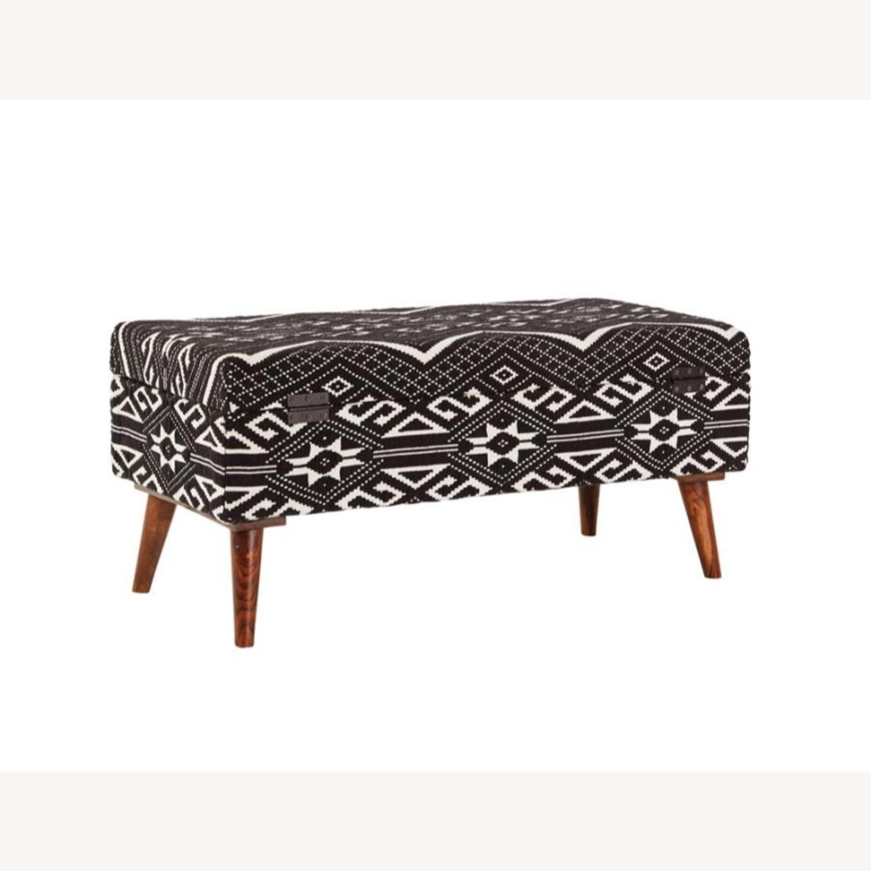 Bench In Black & White Woven Cotton Tribal Motif - image-3